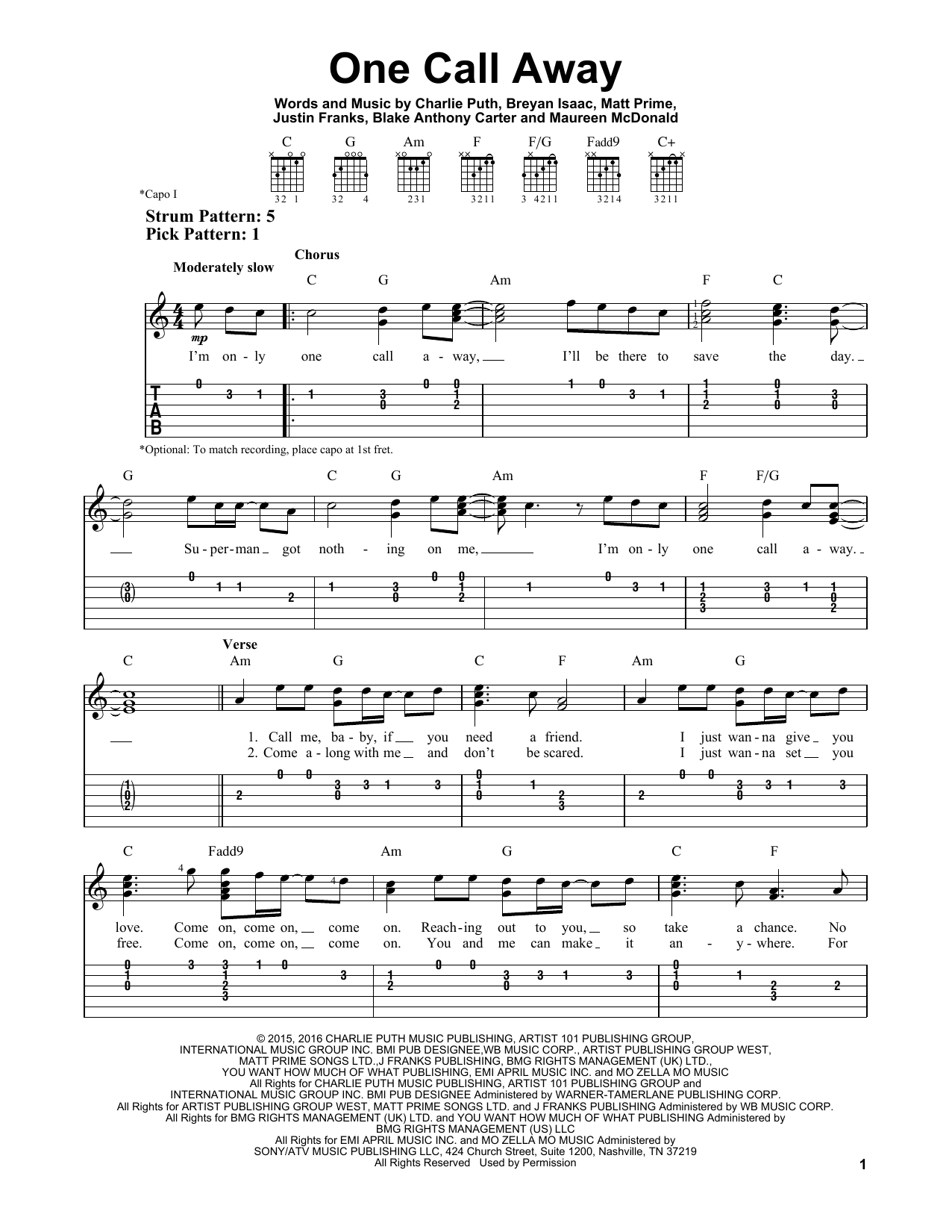 Tablature guitare One Call Away de Charlie Puth - Tablature guitare facile