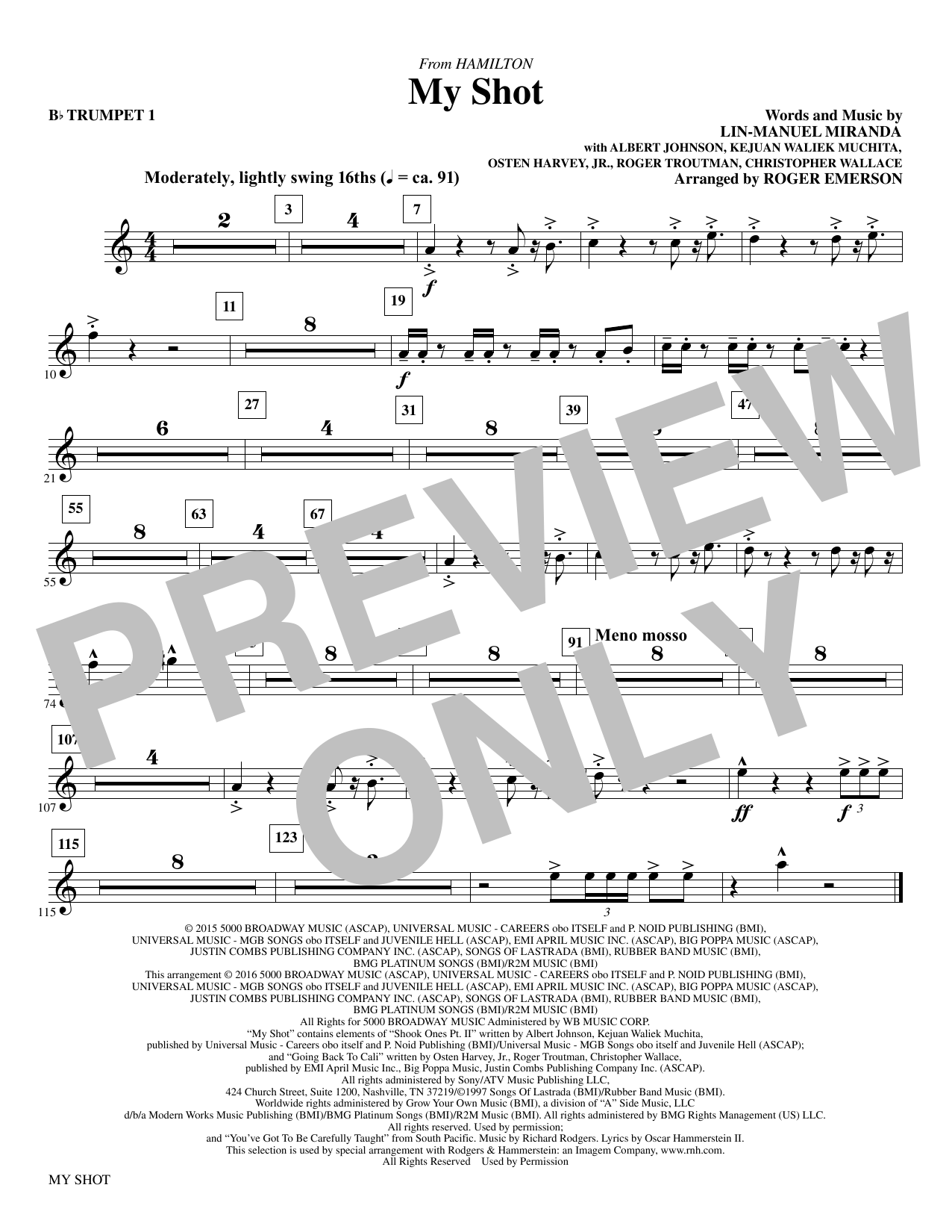 My Shot (complete set of parts) sheet music for orchestra/band by Roger Emerson