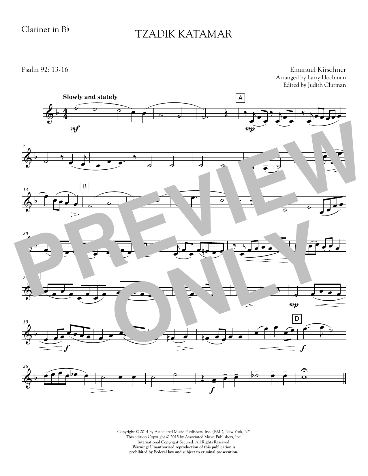 Emanuil Kirschner - Tzadik Katamar - Clarinet