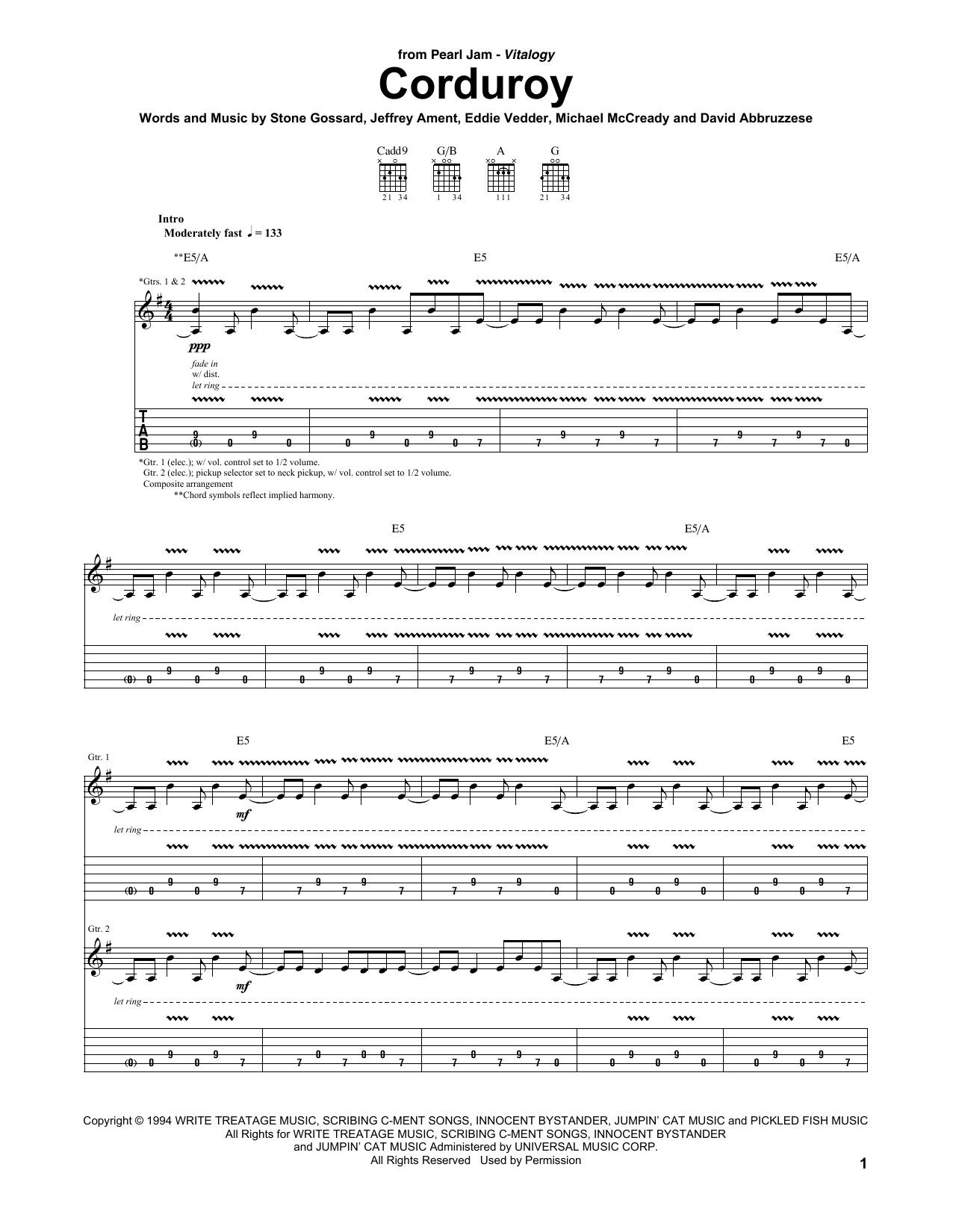 Tablature guitare Corduroy de Pearl Jam - Tablature Guitare