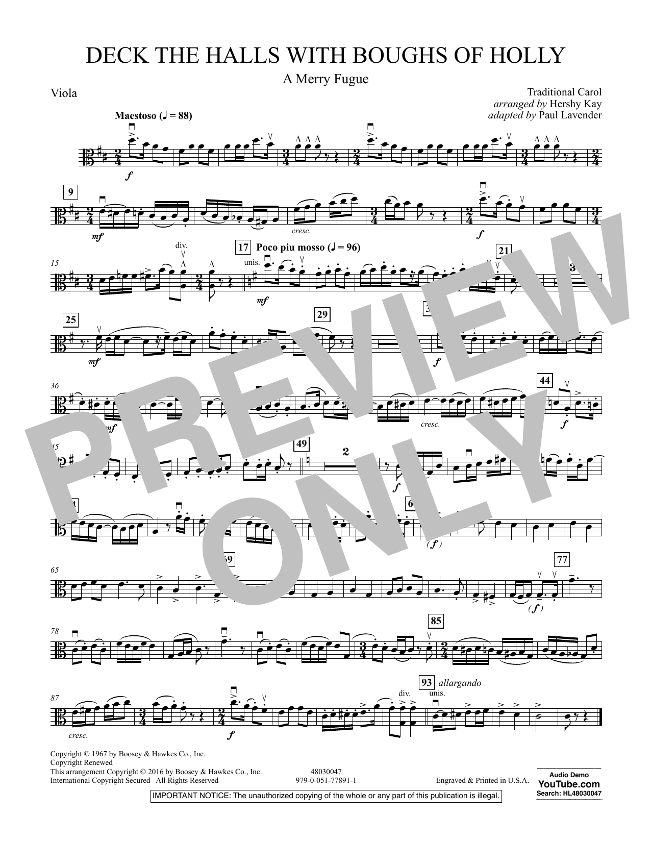 Deck the Halls with Boughs of Holly (A Merry Fugue) - Viola