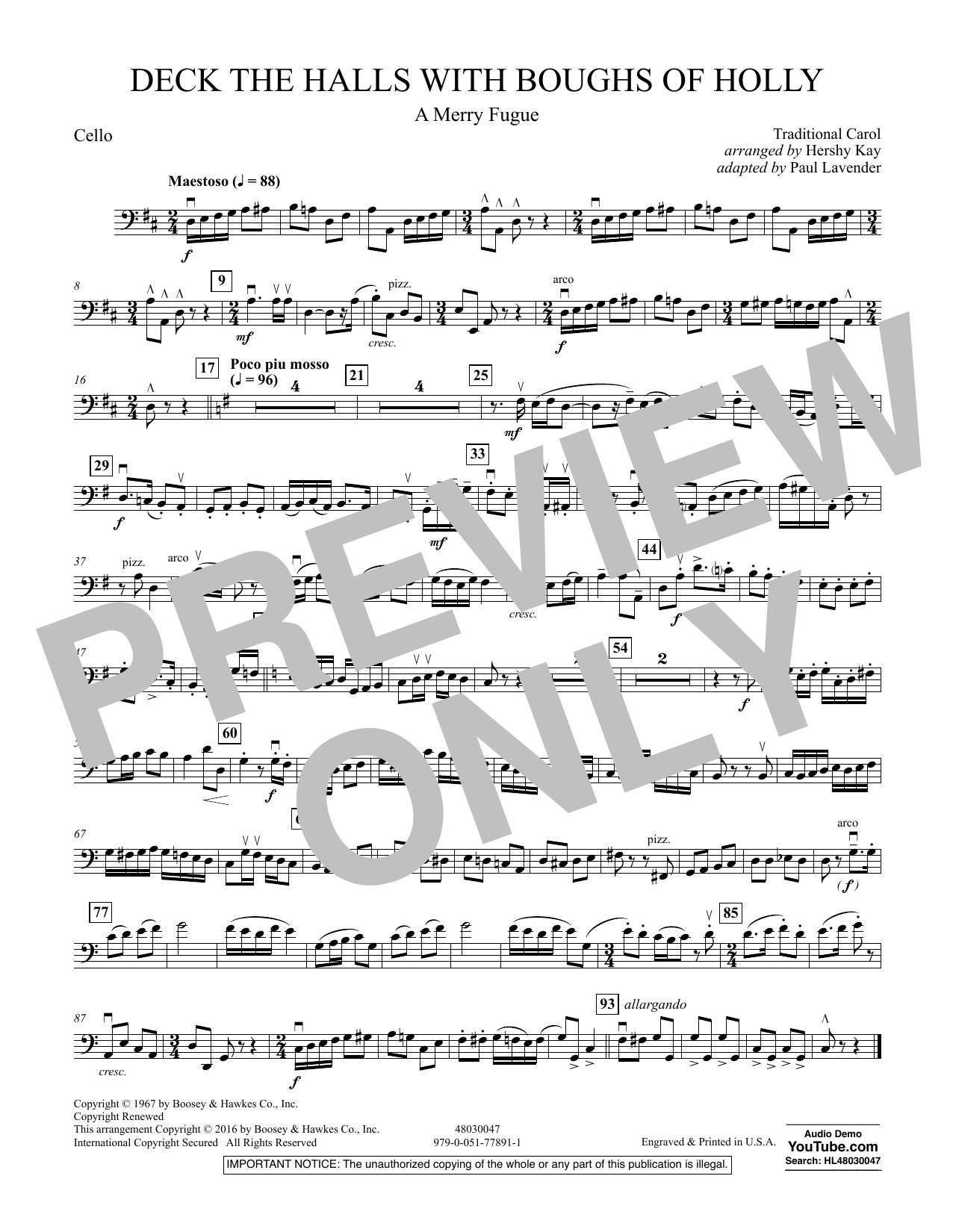 Deck the Halls with Boughs of Holly (A Merry Fugue) - Cello