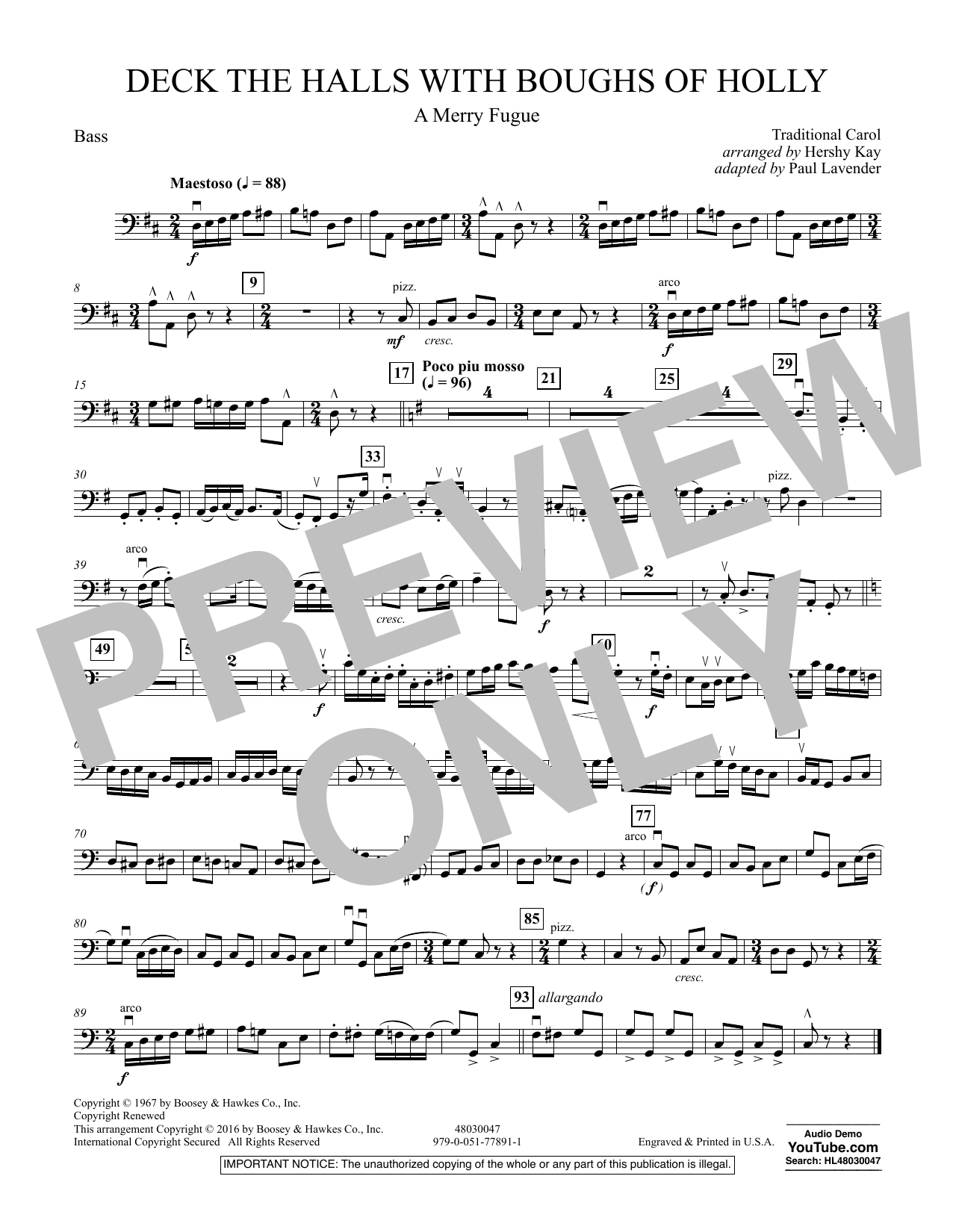 Deck the Halls with Boughs of Holly (A Merry Fugue) - Bass