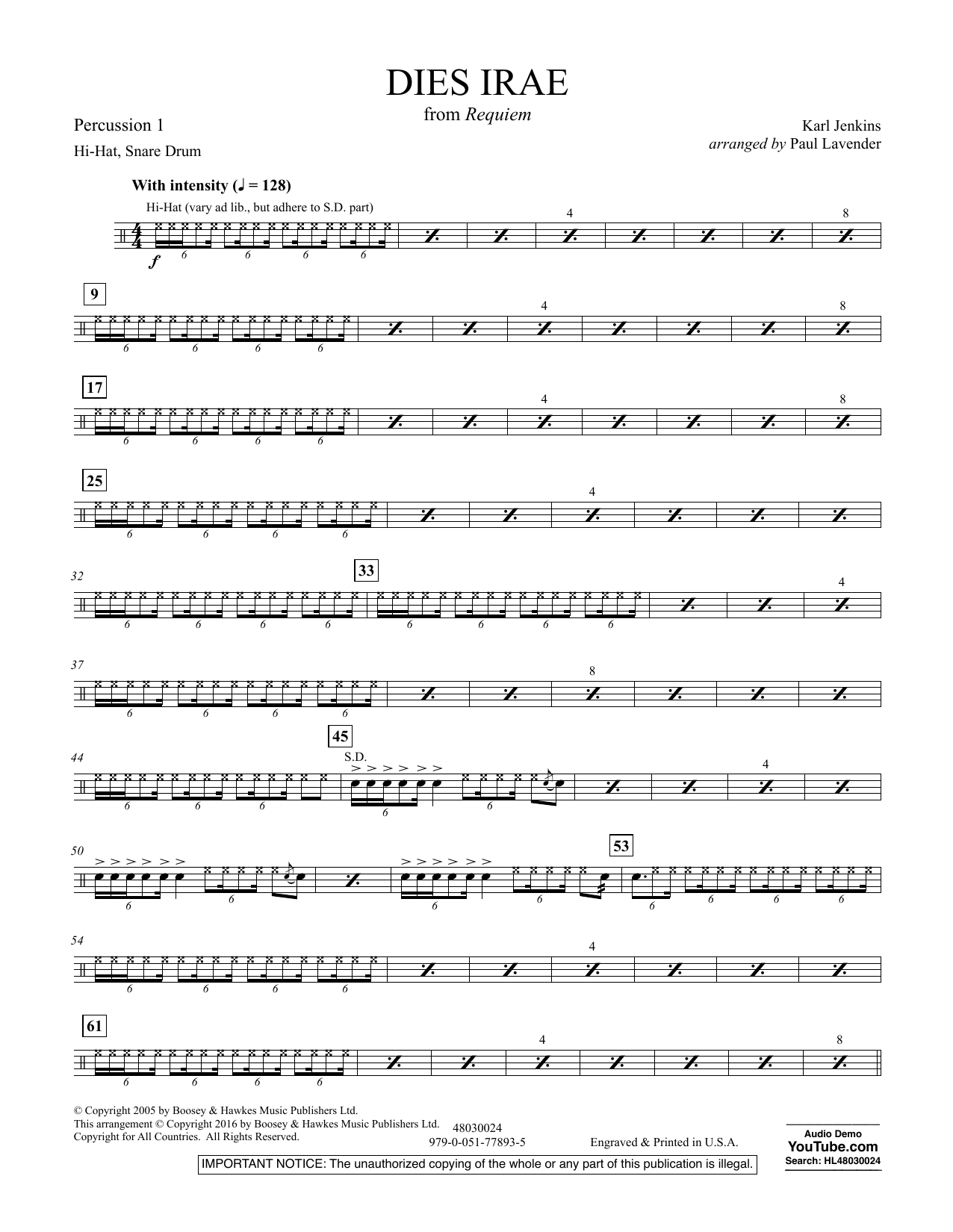 Dies Irae (from Requiem) - Percussion 1
