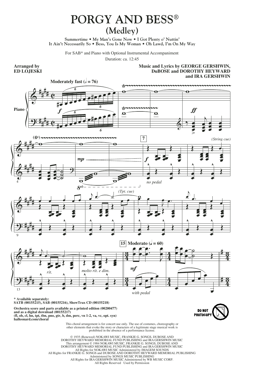 George Gershwin - Porgy And Bess (Medley)