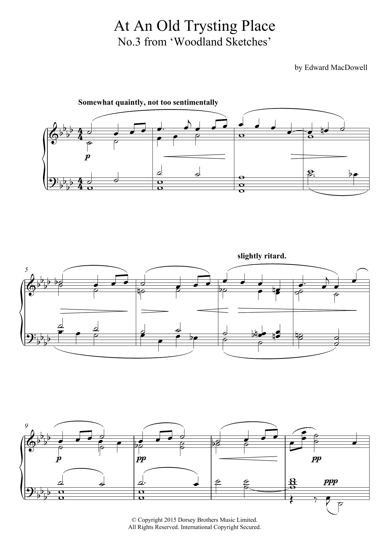 Edward MacDowell - At An Old Trysting Place (10 Woodland Sketches, Op.51, No.3)