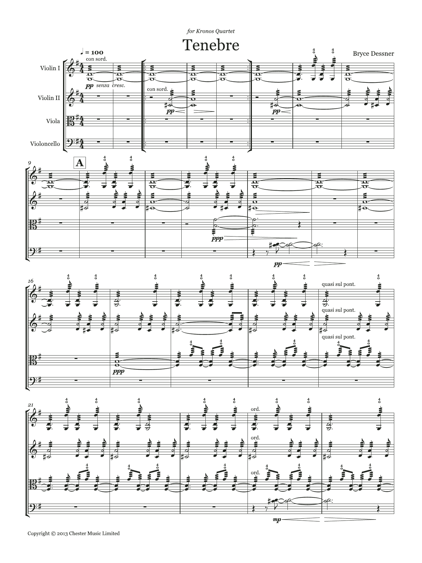 Bryce Dessner - Tenebre (String quartet score and parts)