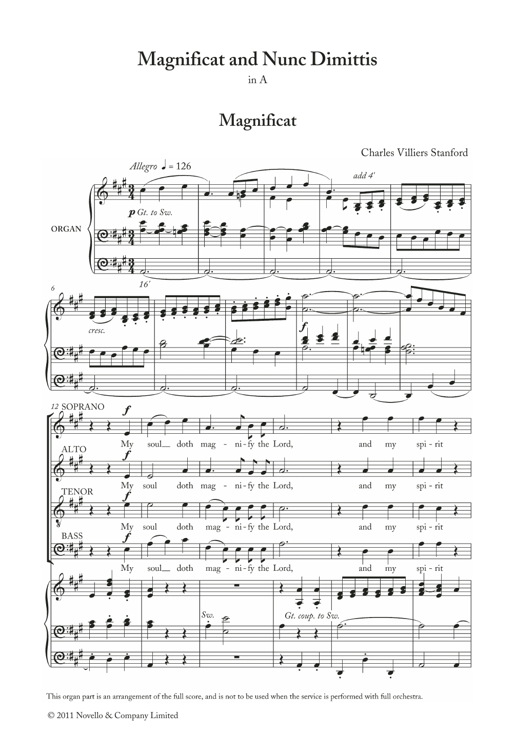 Charles Villiers Stanford - Magnificat And Nunc Dimittis In A