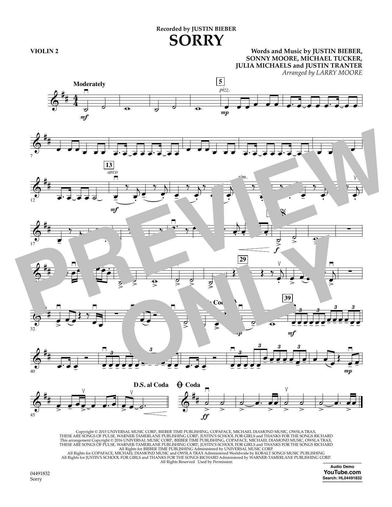 Justin Bieber - Sorry - Violin 2
