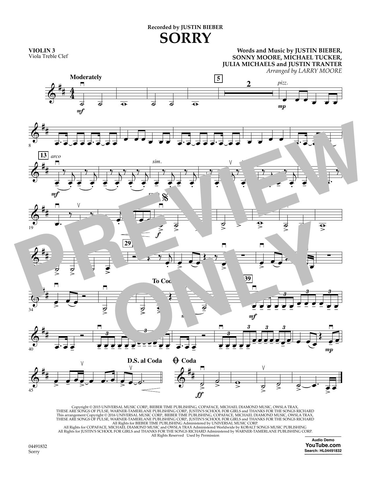 Justin Bieber - Sorry - Violin 3 (Viola Treble Clef)