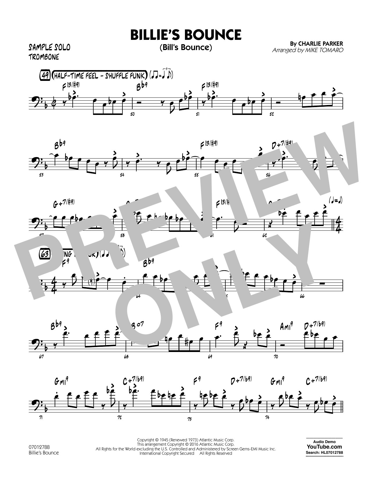 Billie's Bounce - Trombone Sample Solo
