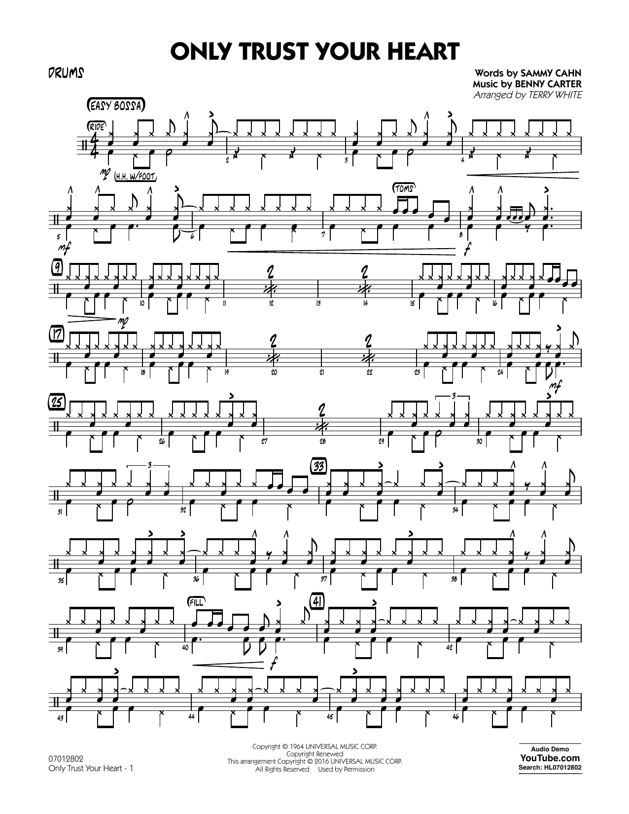 Sammy Cahn - Only Trust Your Heart - Drums