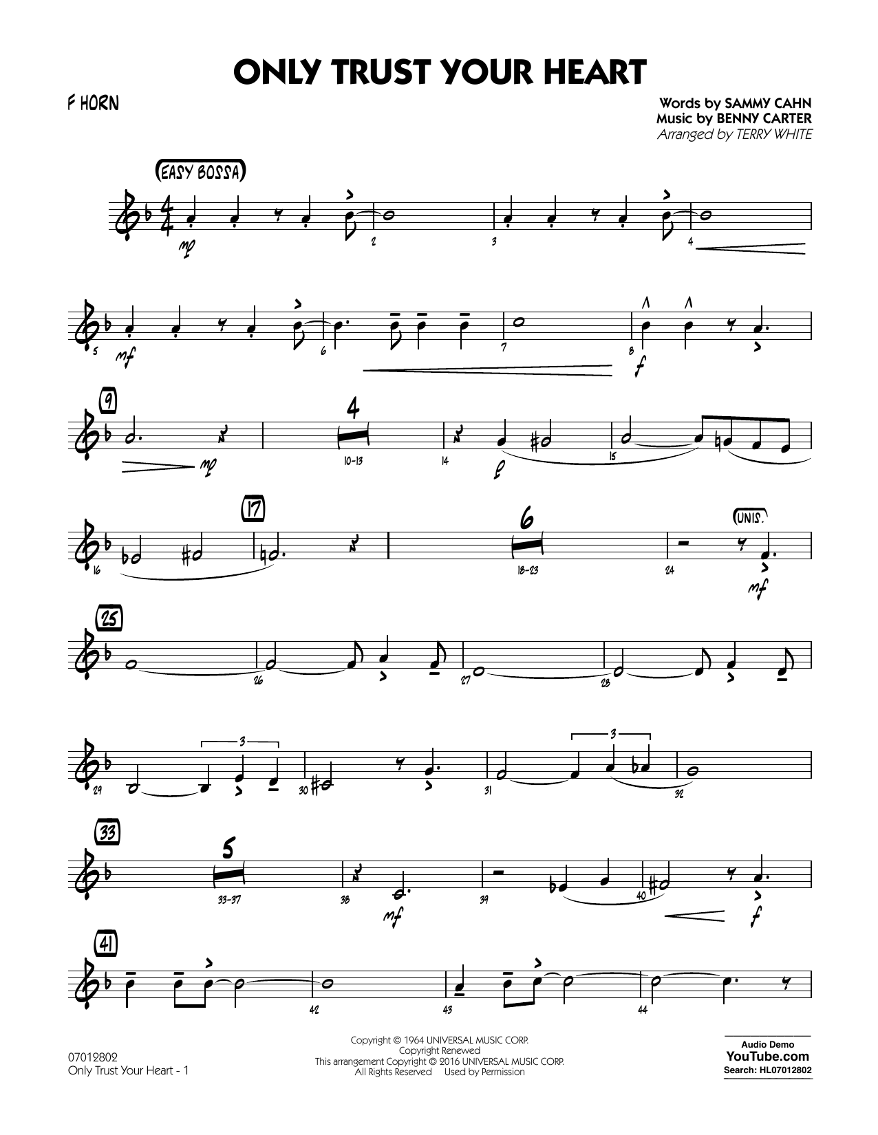 Sammy Cahn - Only Trust Your Heart - F Horn