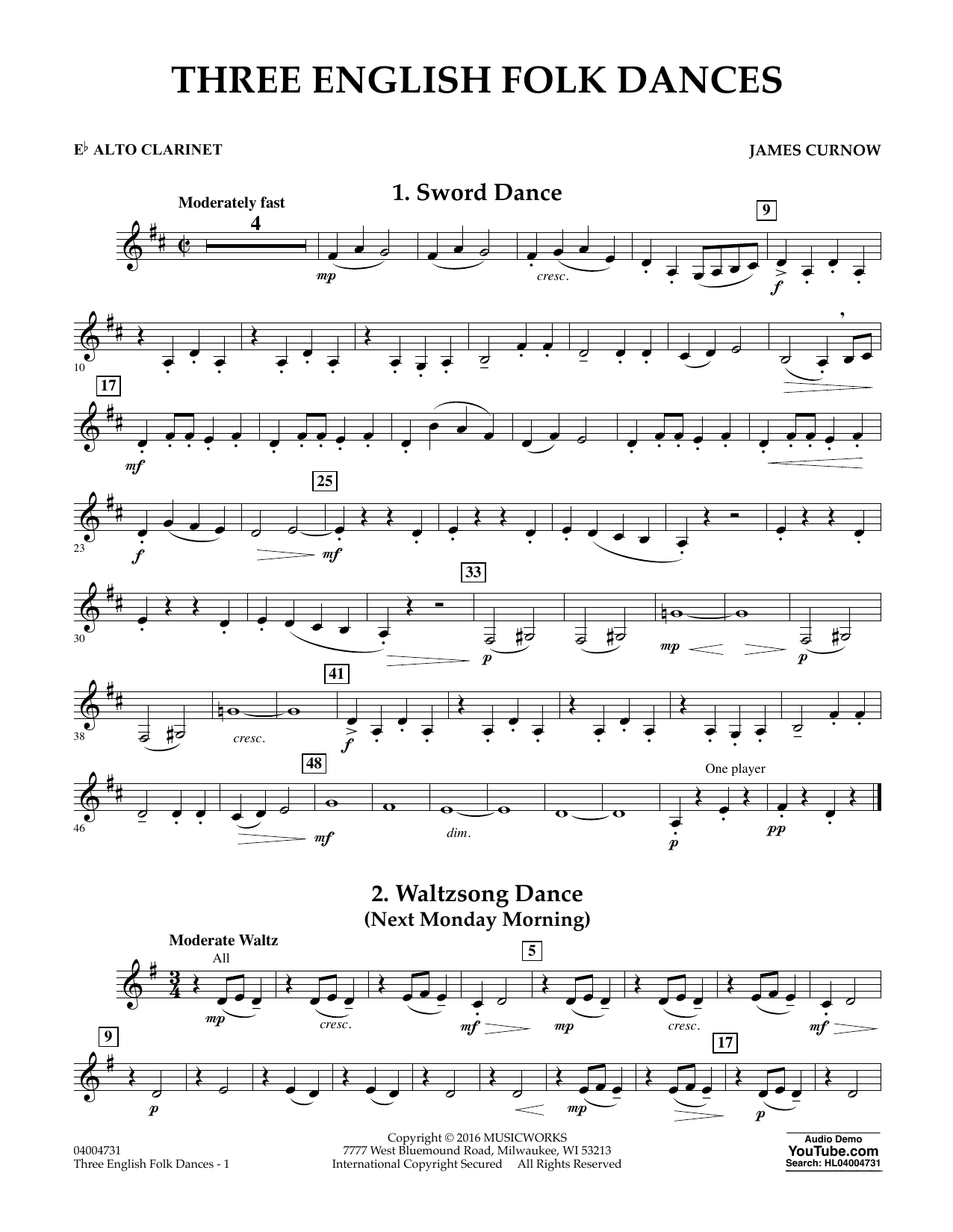 Three English Folk Dances - Eb Alto Clarinet