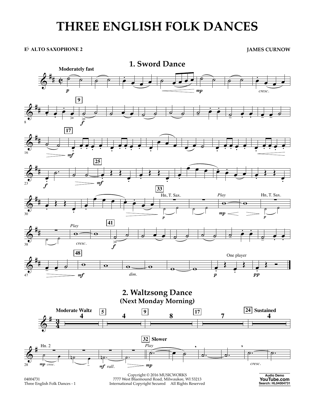 Three English Folk Dances - Eb Alto Saxophone 2