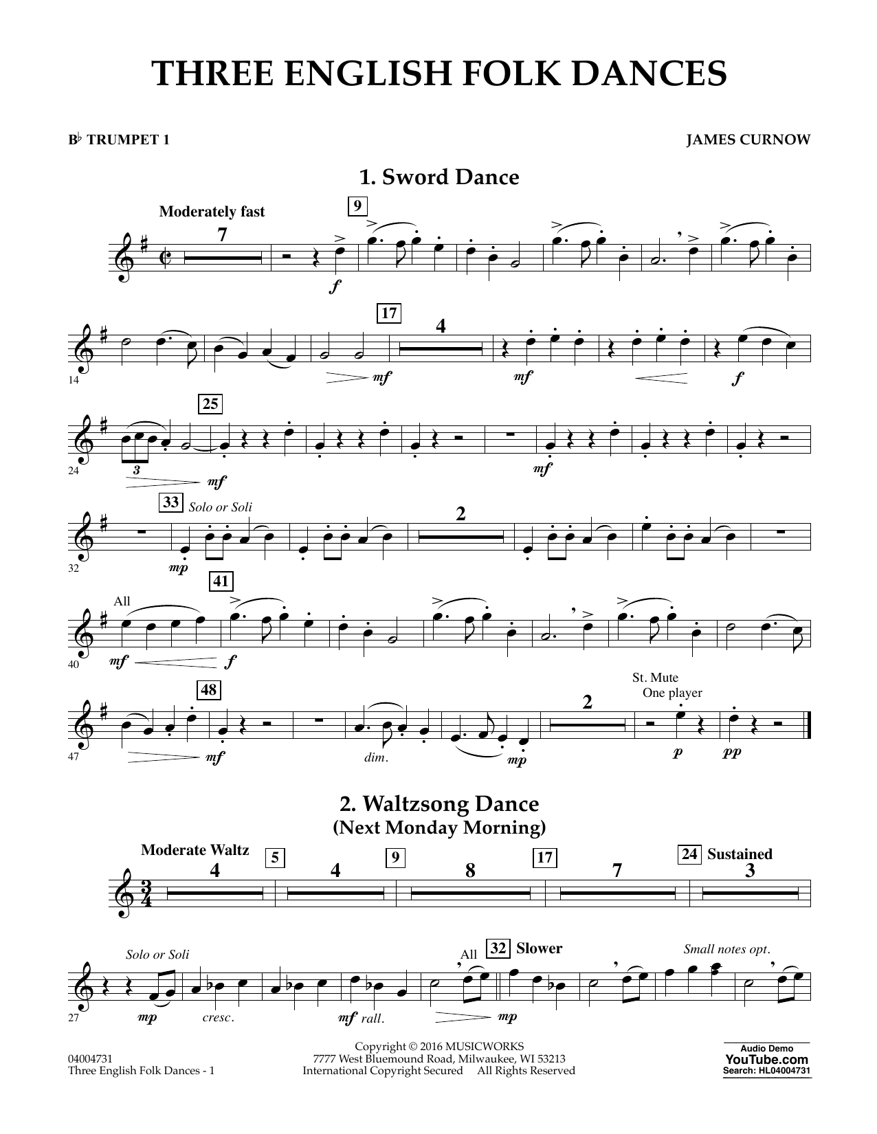 Three English Folk Dances - Bb Trumpet 1