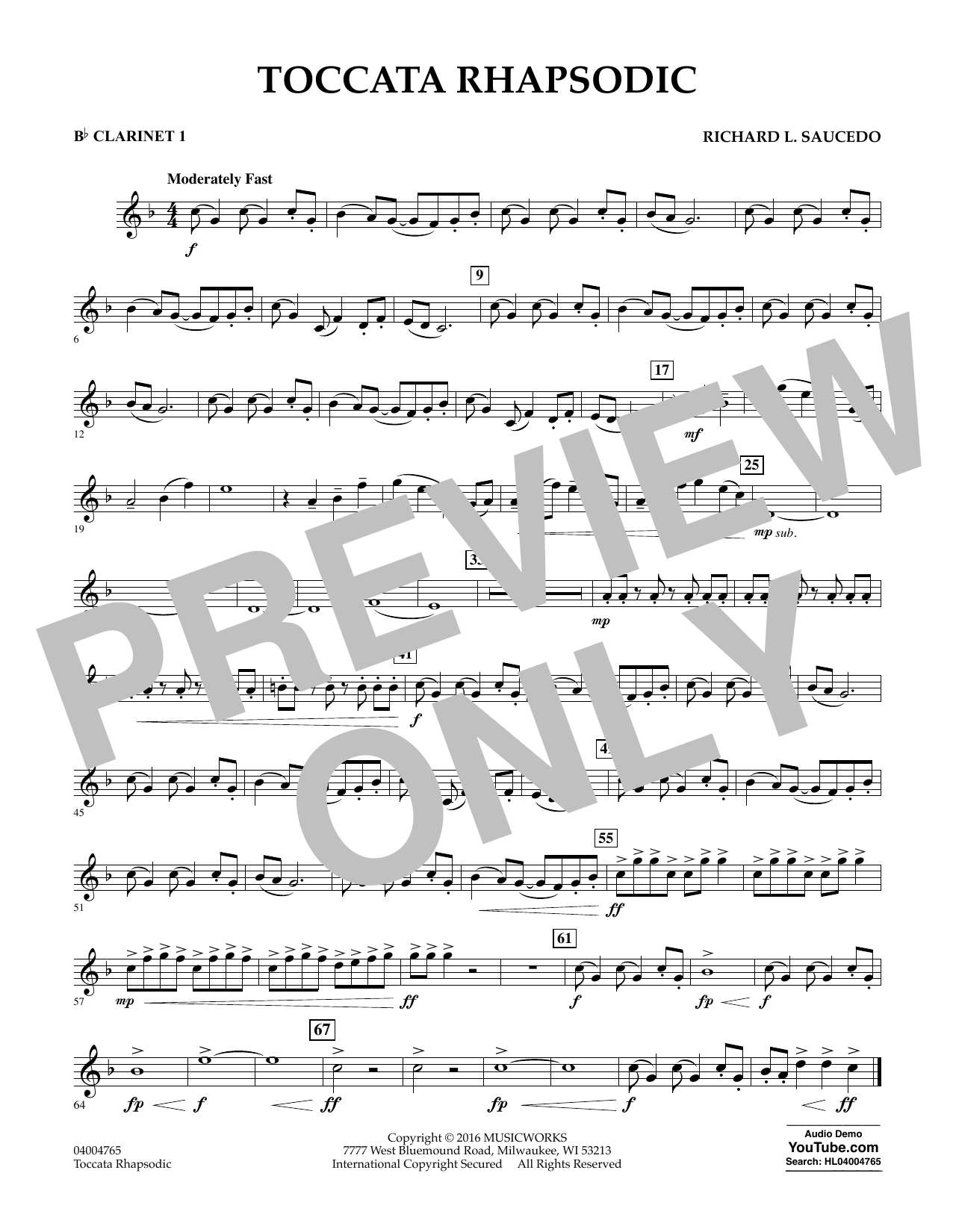 Toccata Rhapsodic - Bb Clarinet 1