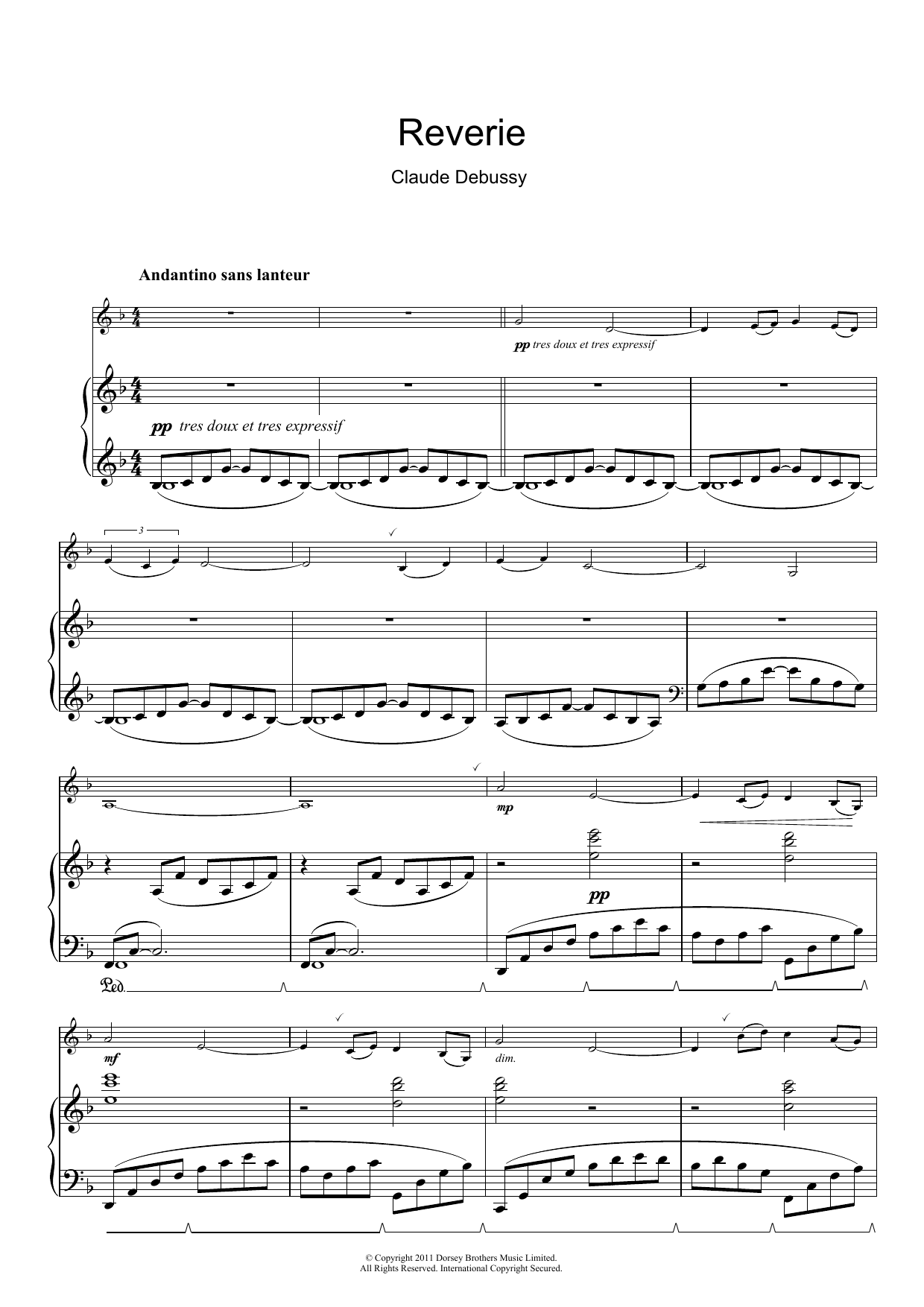 claude debussy reverie sheet music pdf