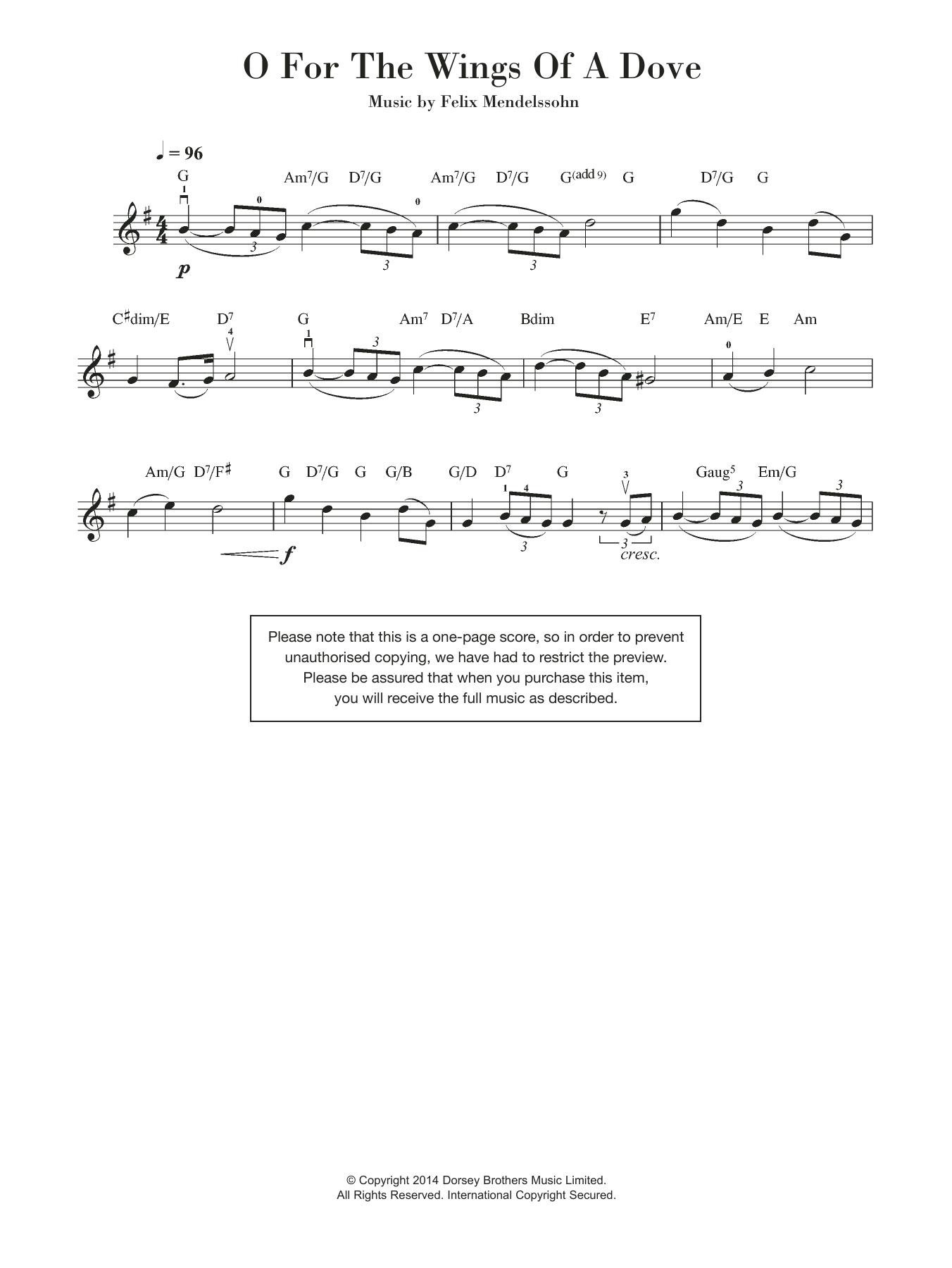 Felix Mendelssohn - O For The Wings Of A Dove