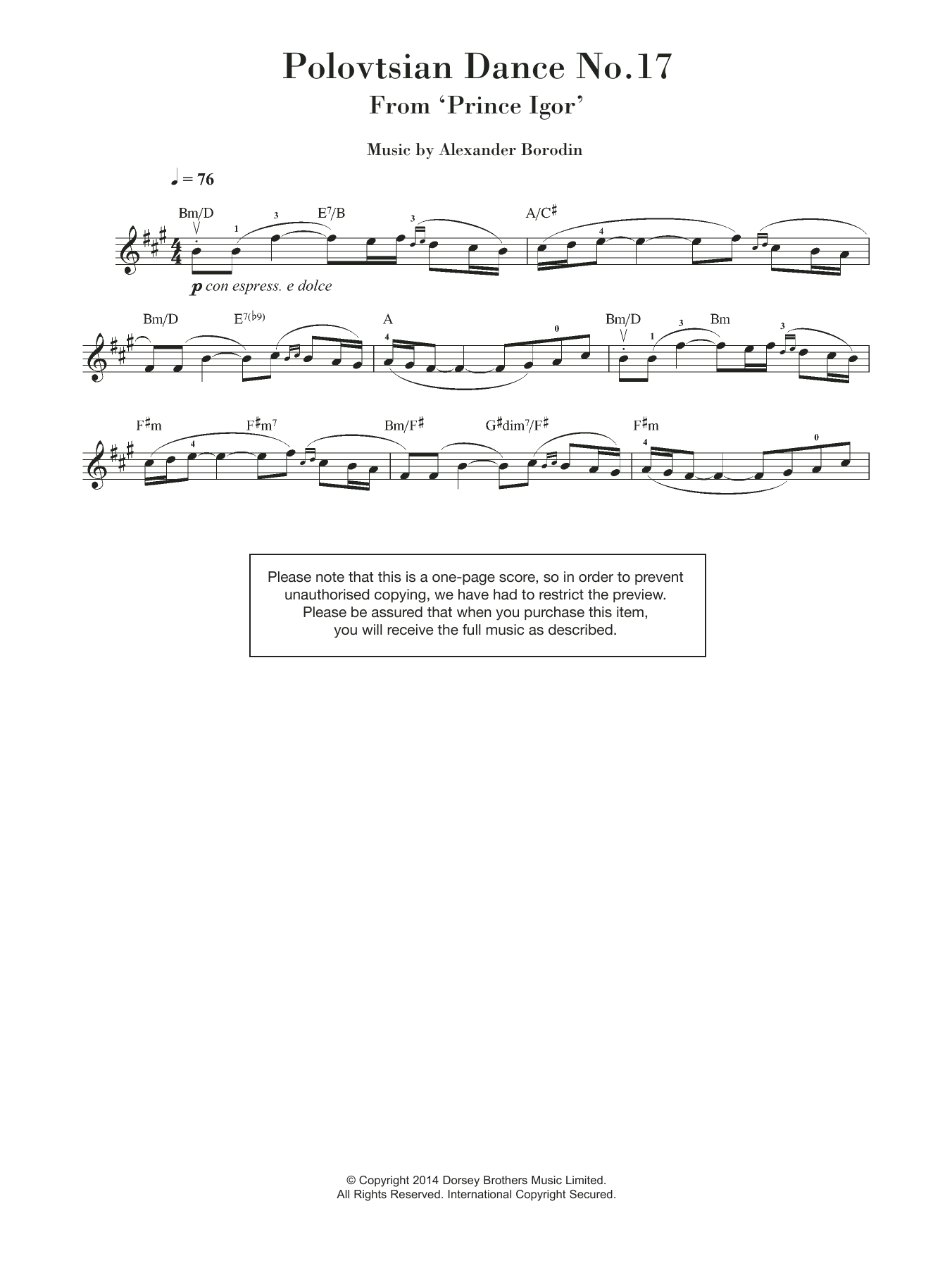 Alexander Borodin - Polovtsian Dance No.17 (from 'Prince Igor')
