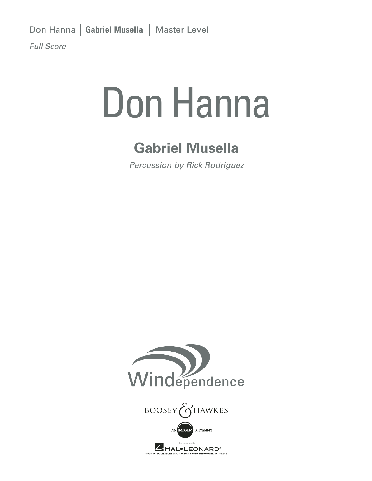 Don Hanna - Conductor Score (Full Score)