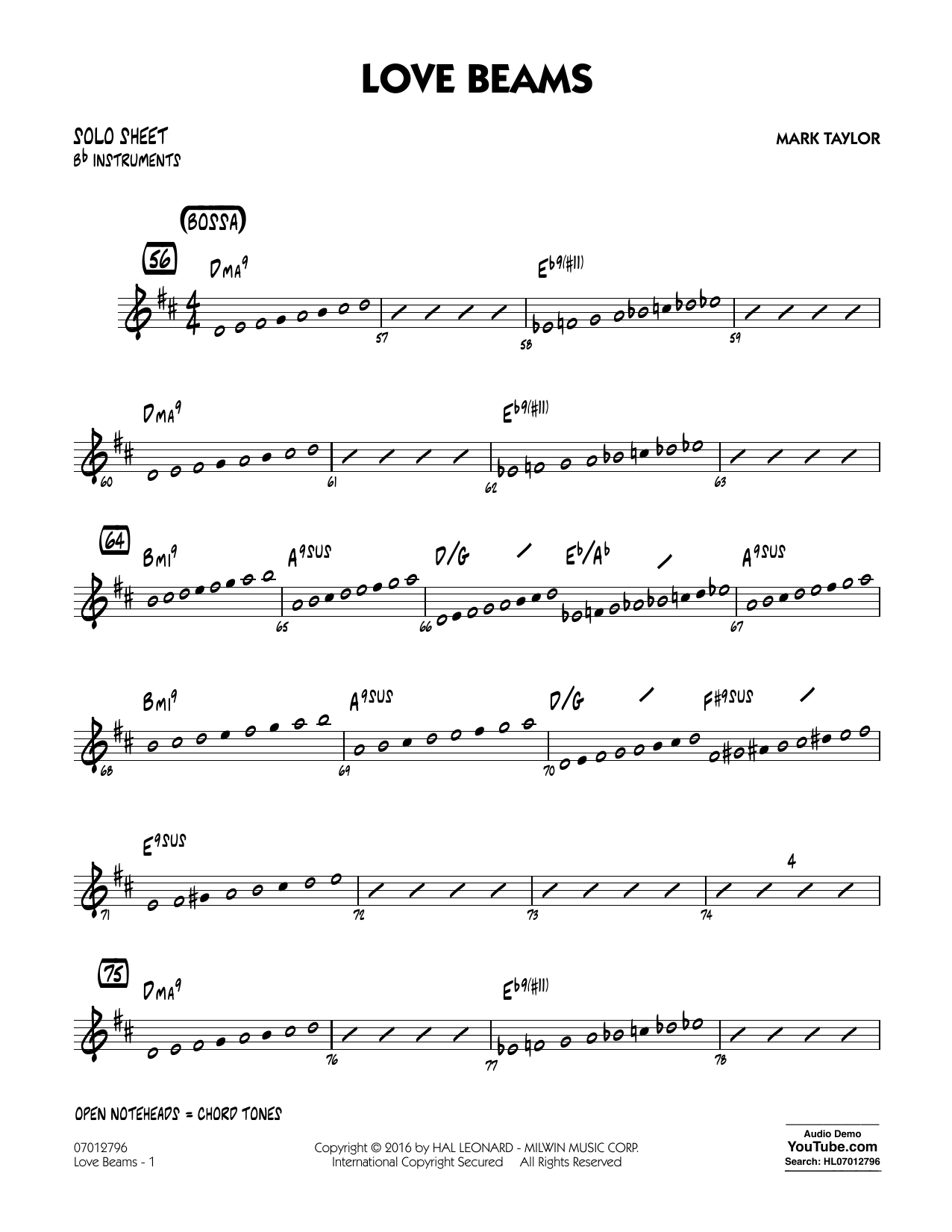 Love Beams - Bb Solo Sheet