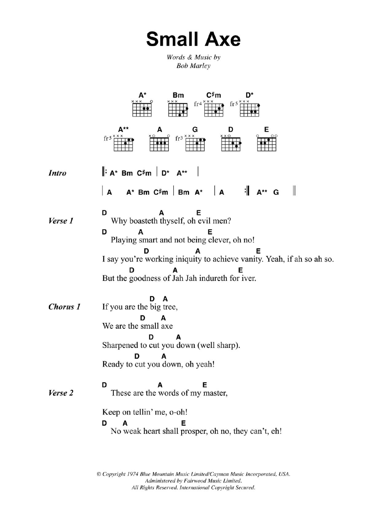 Reggae Music Guitar Chord At Stantons Sheet Music