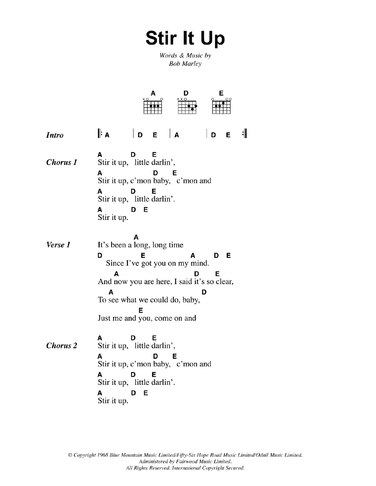 Reggae Music Guitar Chord At Stantons Sheet Music
