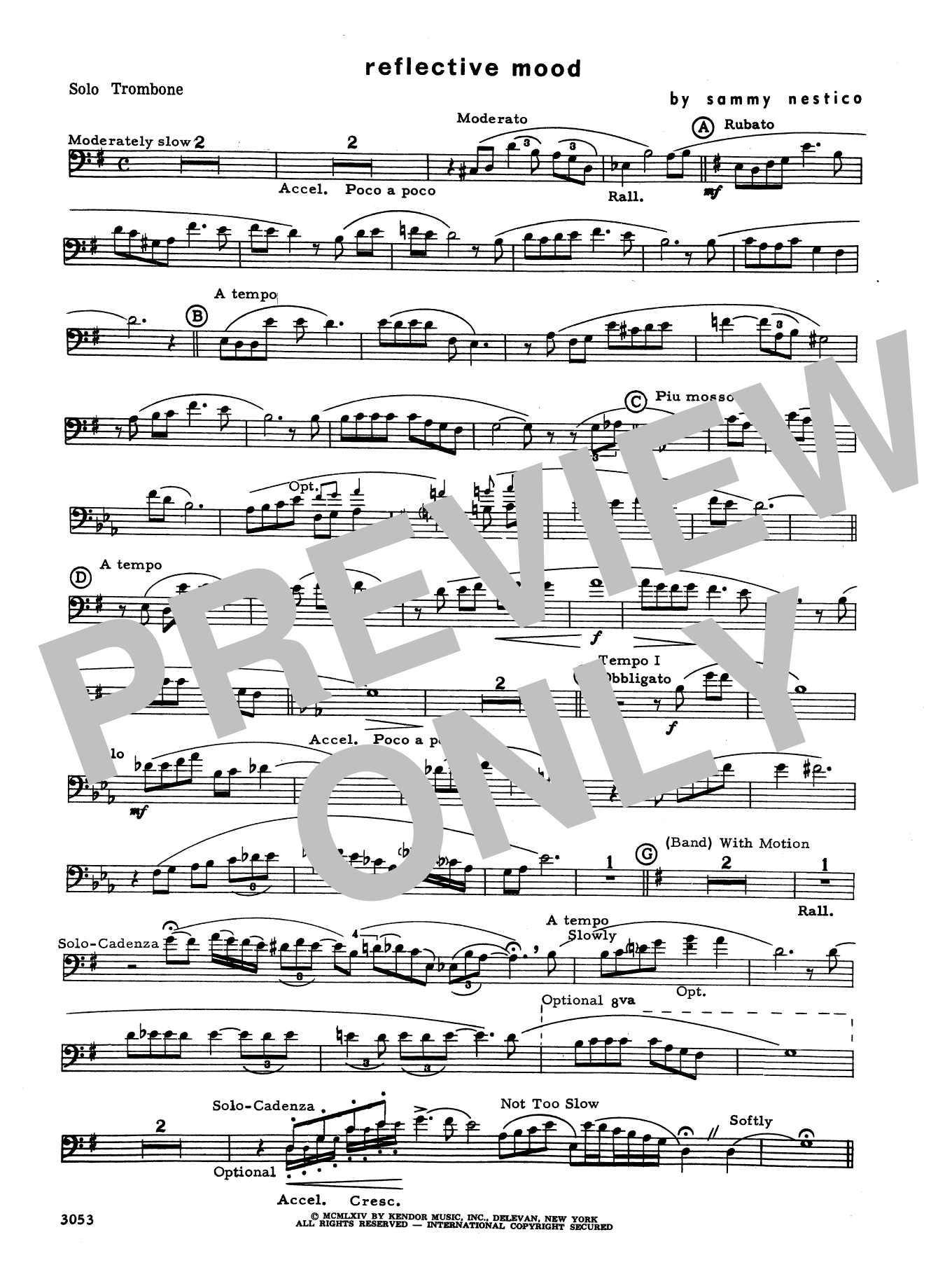 Reflective Mood (complete set of parts) sheet music for trombone and piano by Sammy Nestico