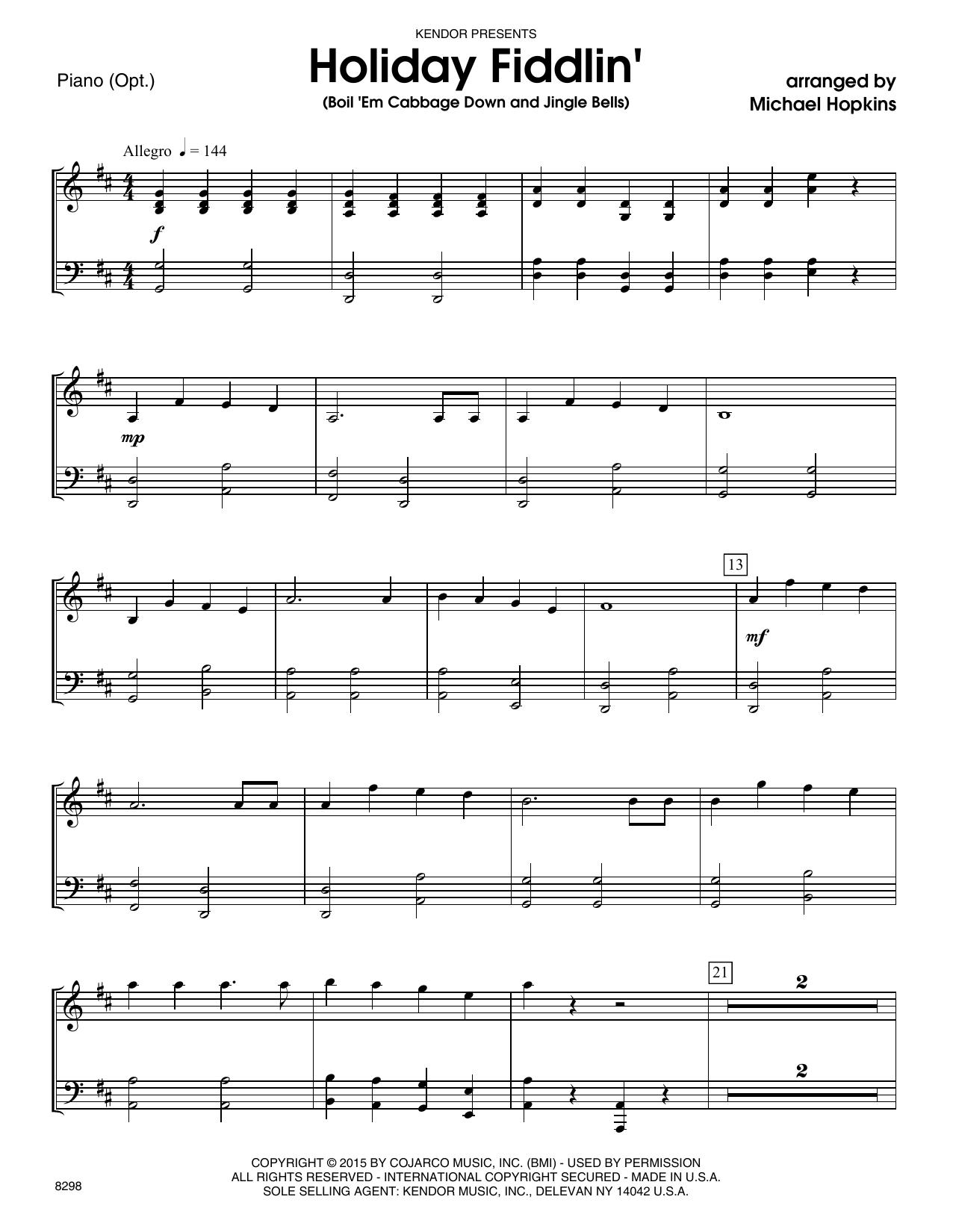 Michael Hopkins - Holiday Fiddlin' (Boil 'Em Cabbage Down and Jingle Bells) - Piano Accompaniment
