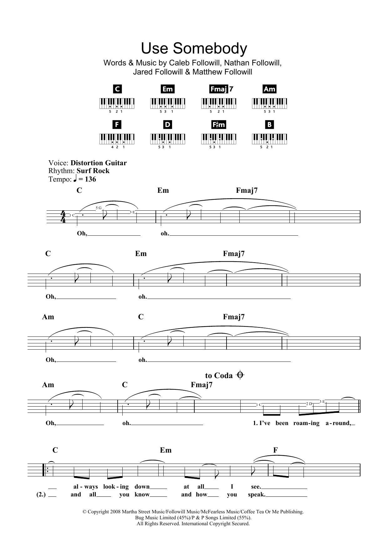 Sheet Music Digital Files To Print Licensed Kings Of Leon Digital