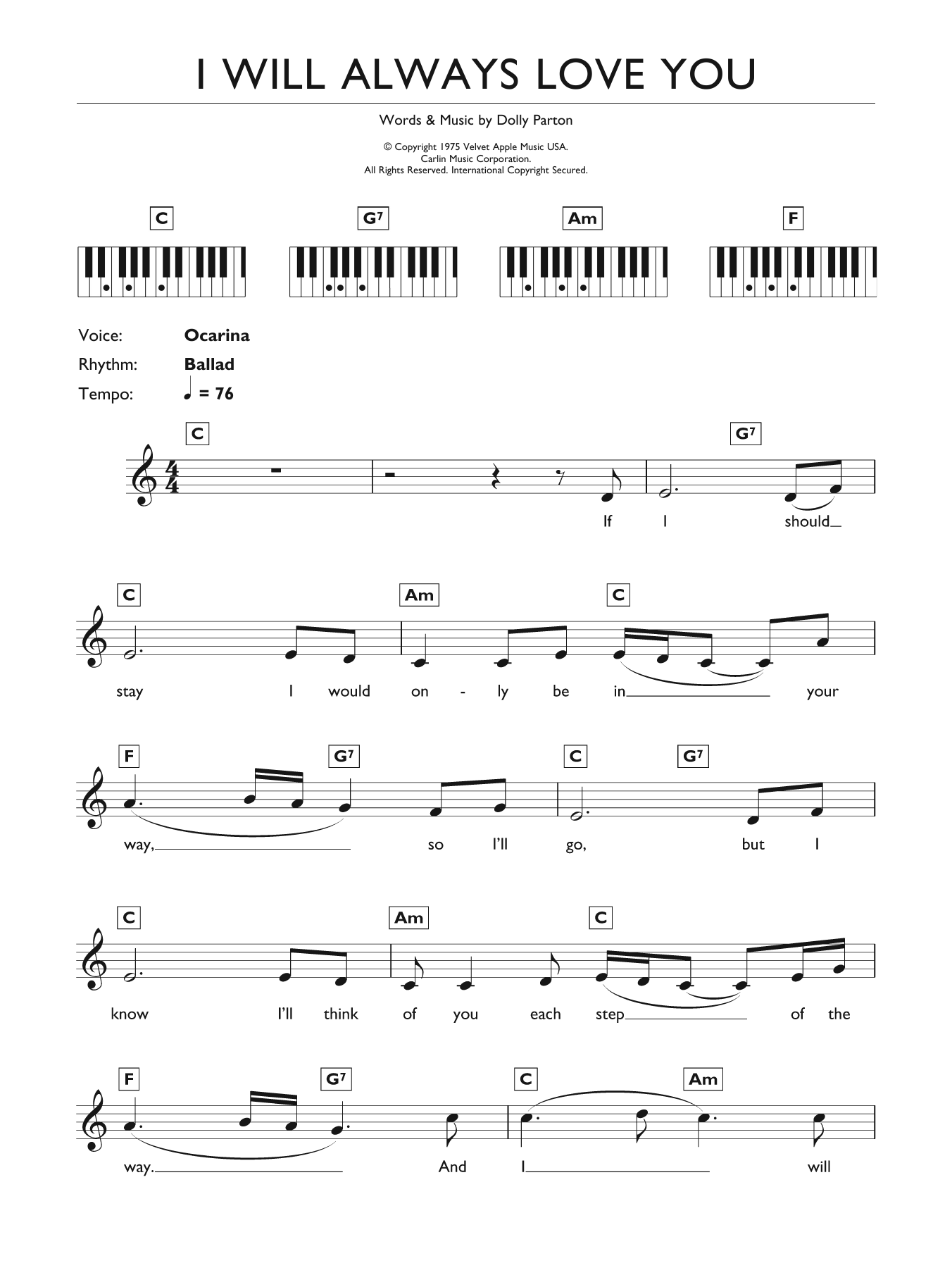 Sheet music digital files to print licensed whitney houston i will always love you hexwebz Choice Image