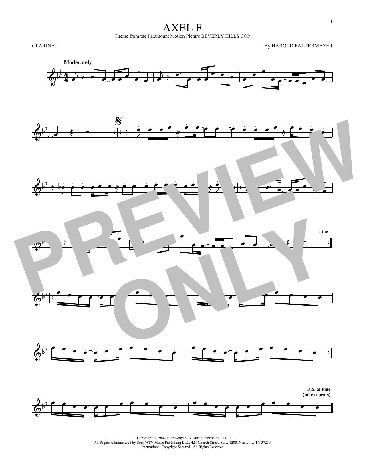 Partition clarinette Axel F de Crazy Frog - Clarinette