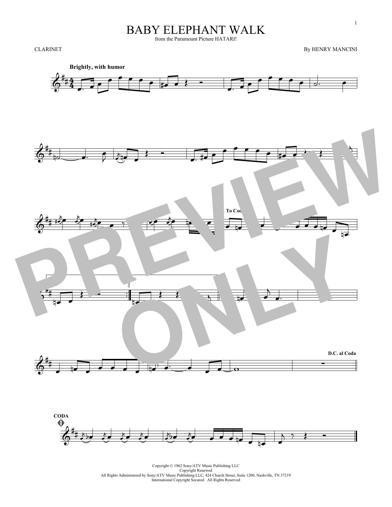 Partition clarinette Baby Elephant Walk de Henry Mancini - Clarinette