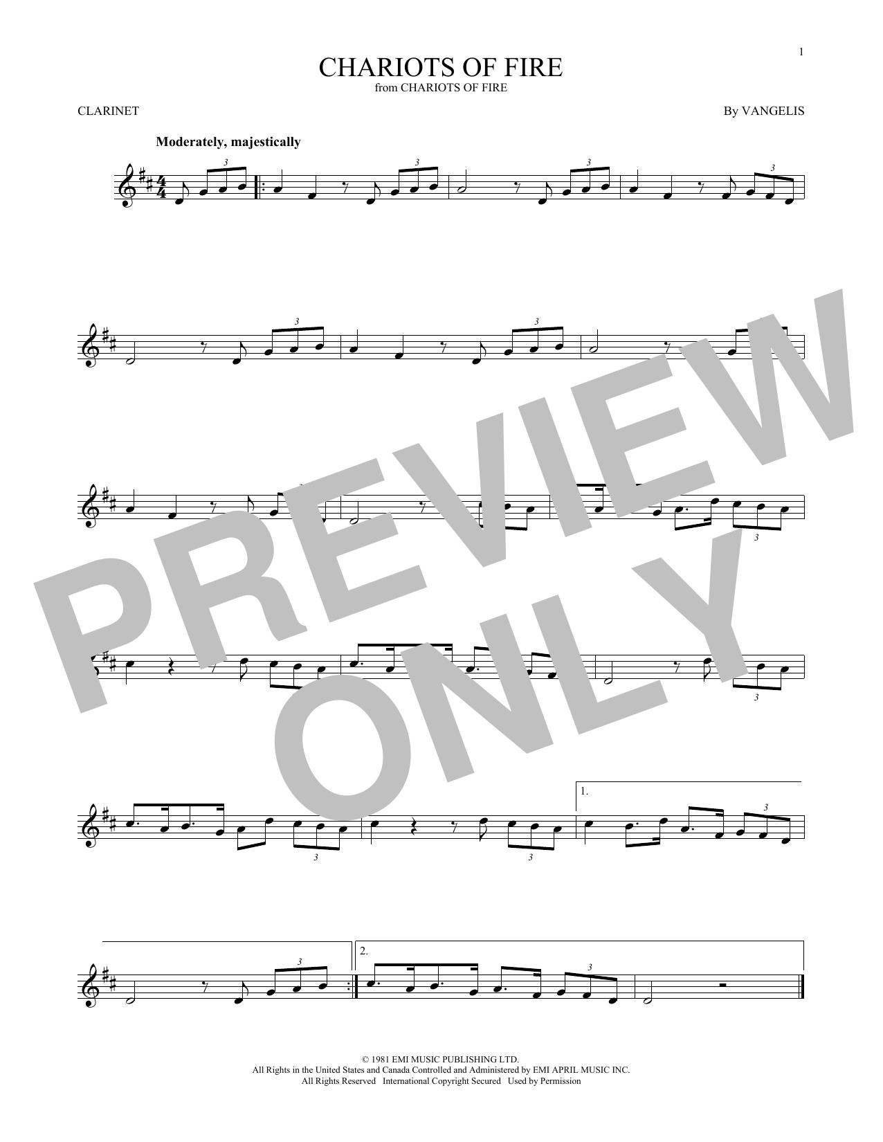Partition clarinette Chariots Of Fire de Vangelis - Clarinette