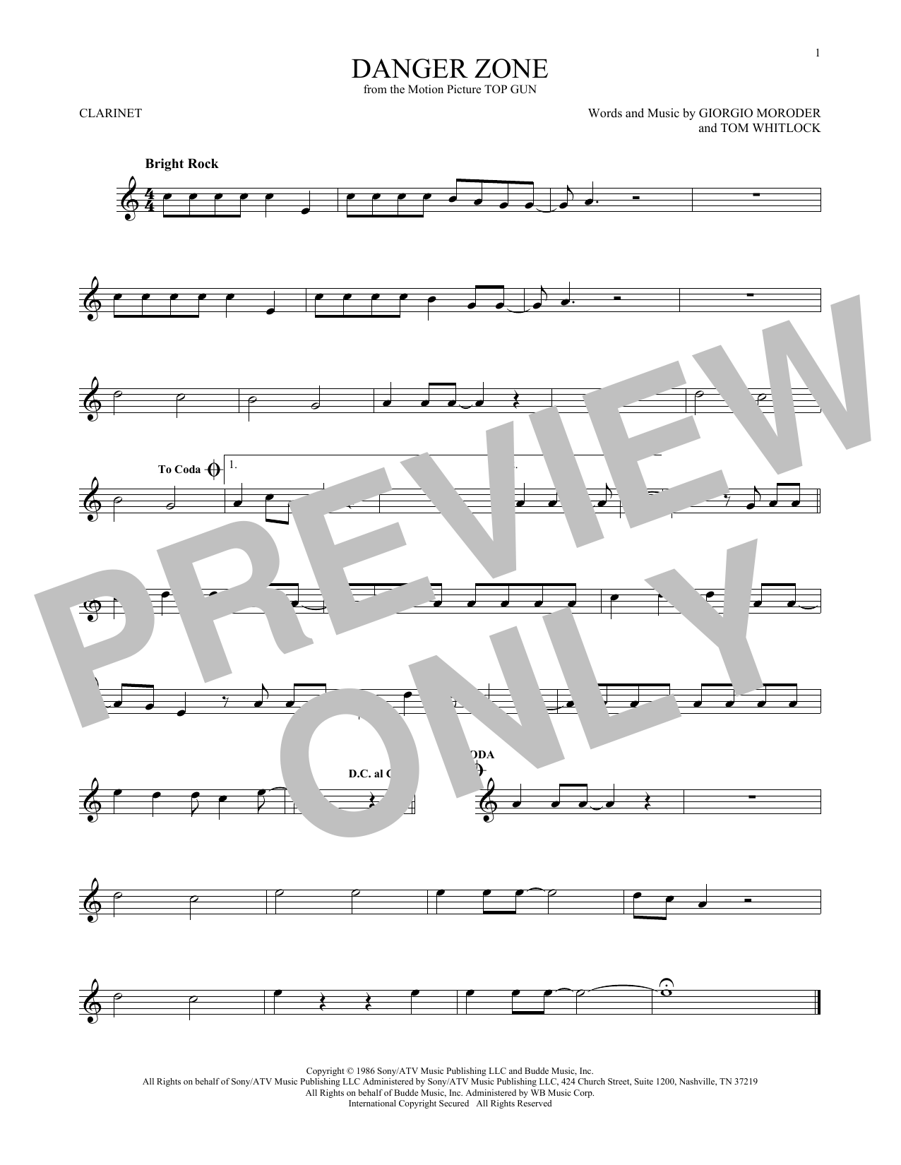 Partition clarinette Danger Zone de Kenny Loggins - Clarinette