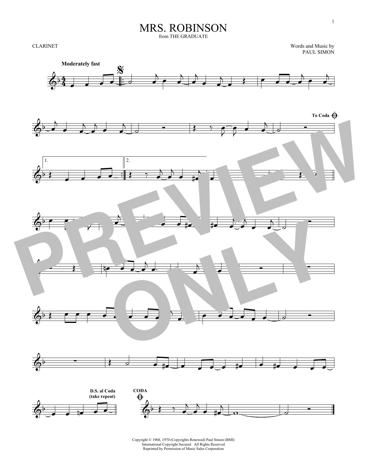 Partition clarinette Mrs. Robinson de Simon & Garfunkel - Clarinette