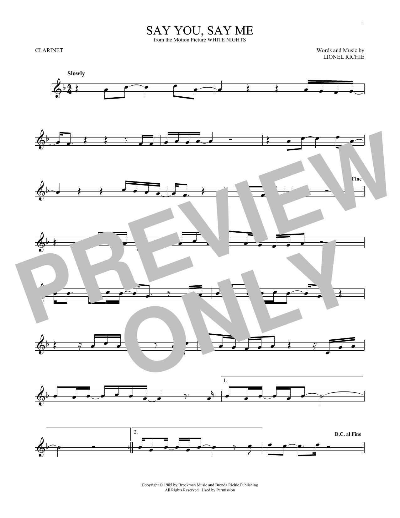 Partition clarinette Say You, Say Me de Lionel Richie - Clarinette