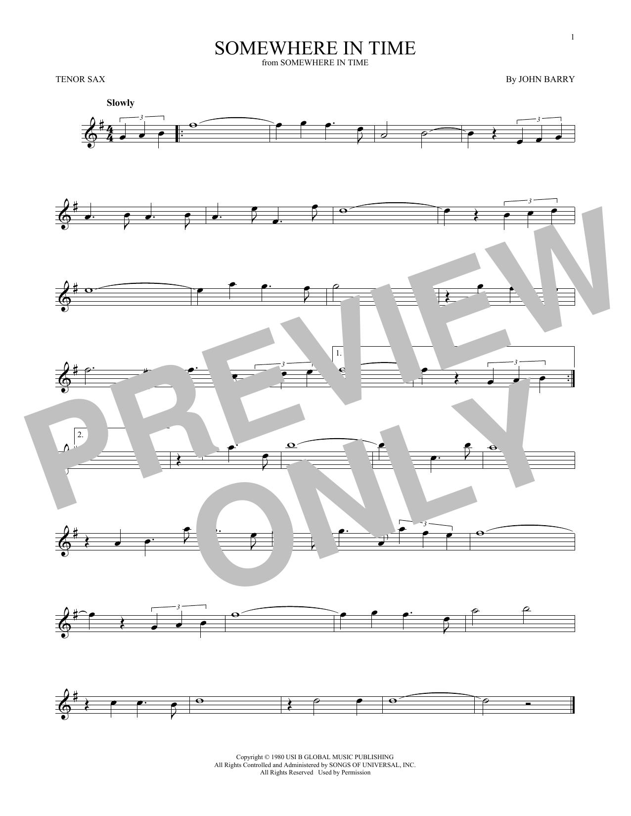 Partition saxophone Somewhere In Time de John Barry - Sax Tenor