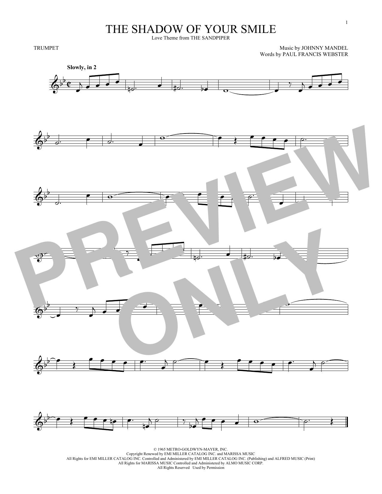 Partition autre The Shadow Of Your Smile de Johnny Mandel - Trompette