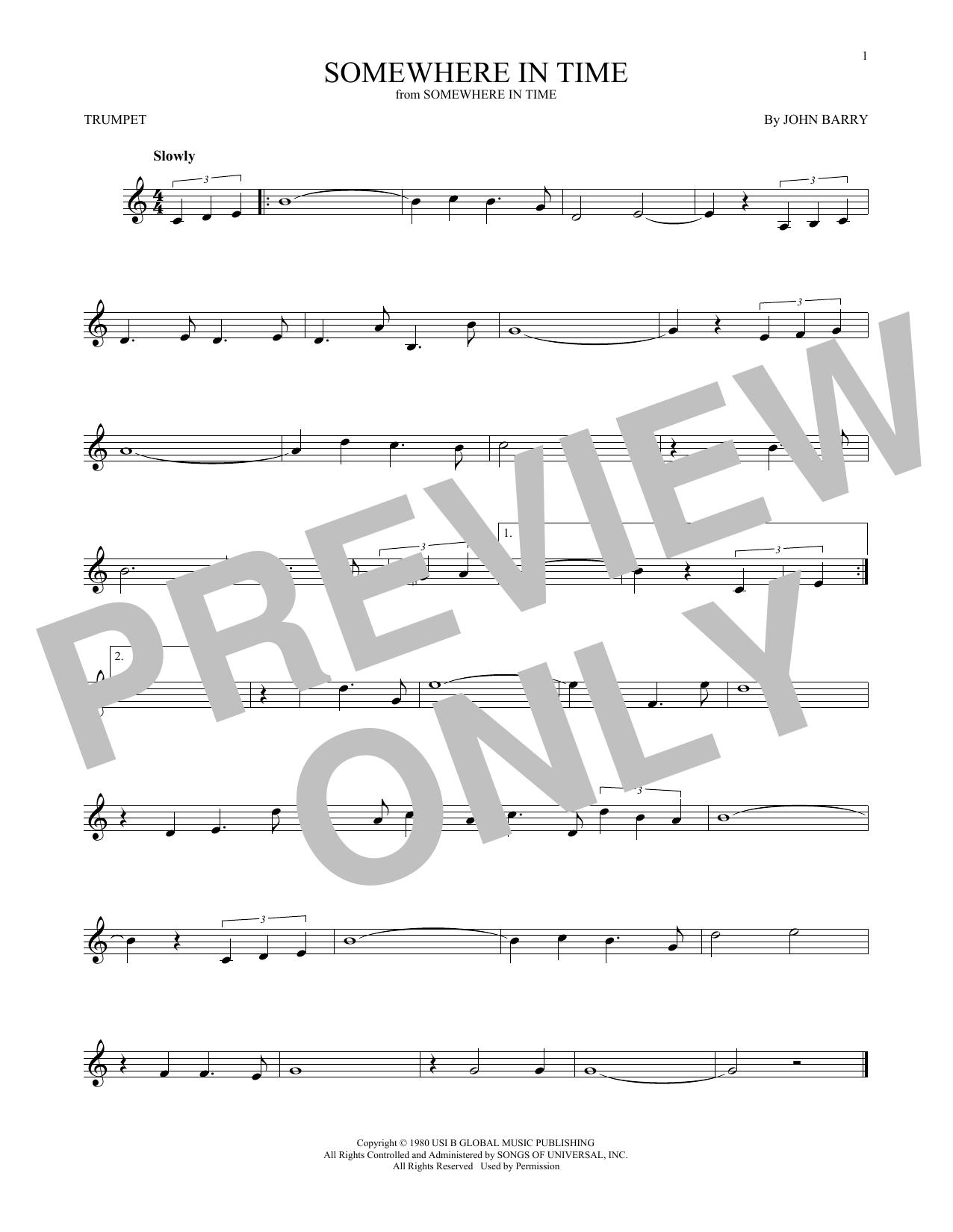 Partition autre Somewhere In Time de John Barry - Trompette