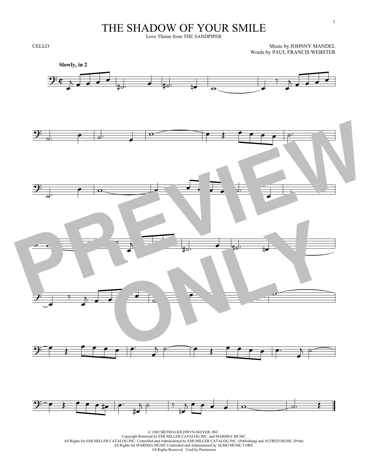 Partition autre The Shadow Of Your Smile de Johnny Mandel - Violoncelle