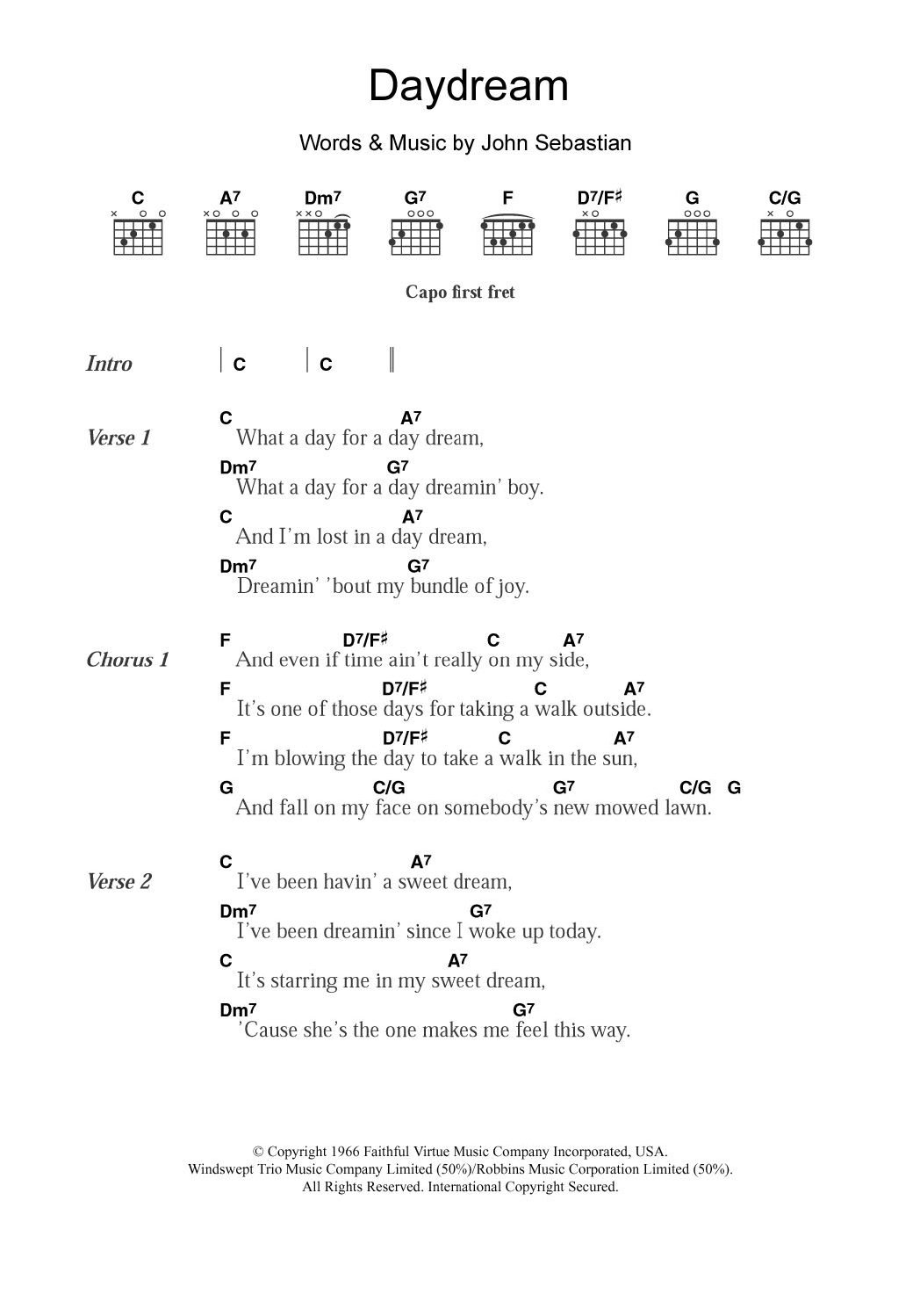 Sheet Music Digital Files To Print Licensed The Lovin Spoonful