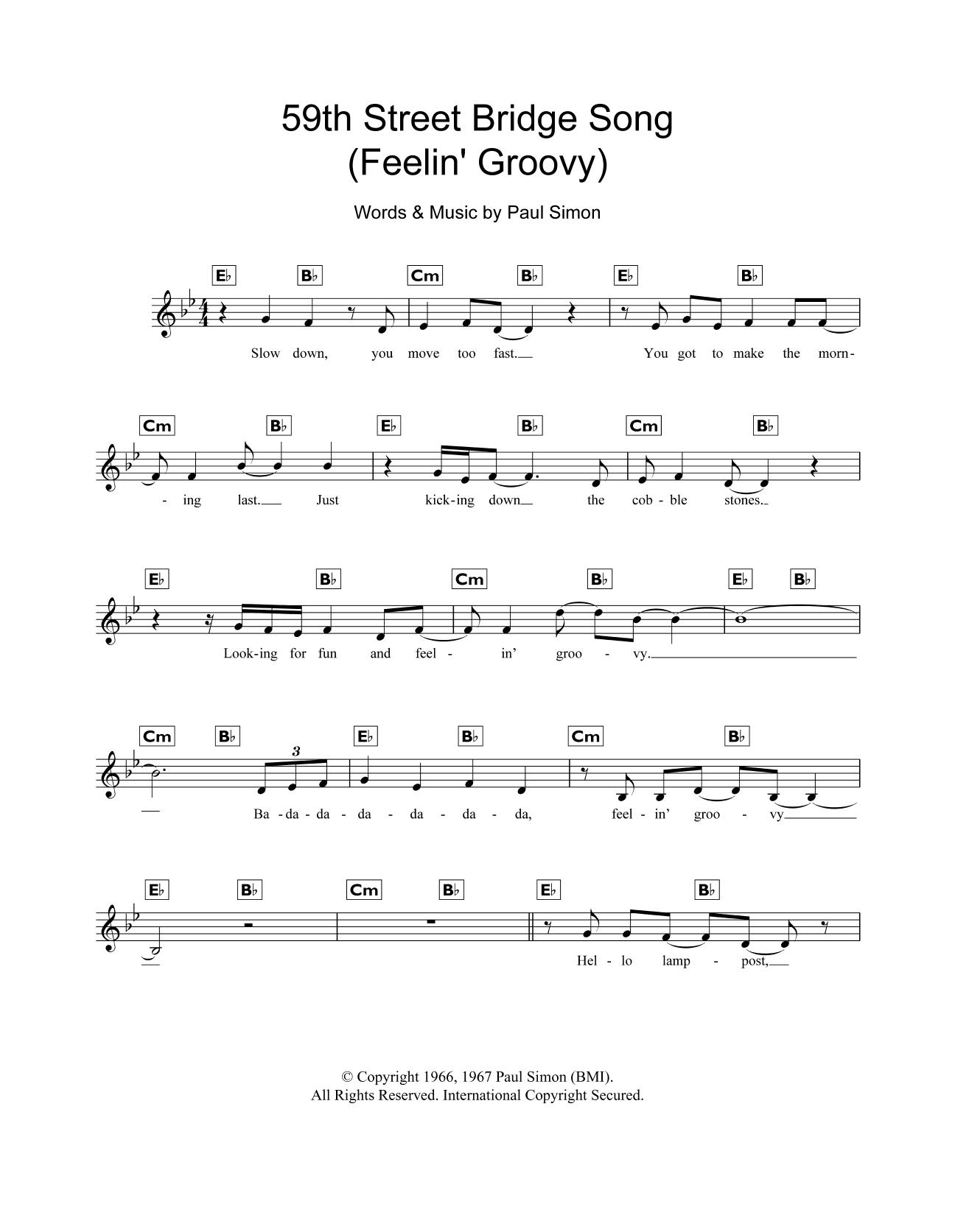 Sheet music digital files to print licensed paul simon digital the 59th street bridge song feelin groovy hexwebz Images