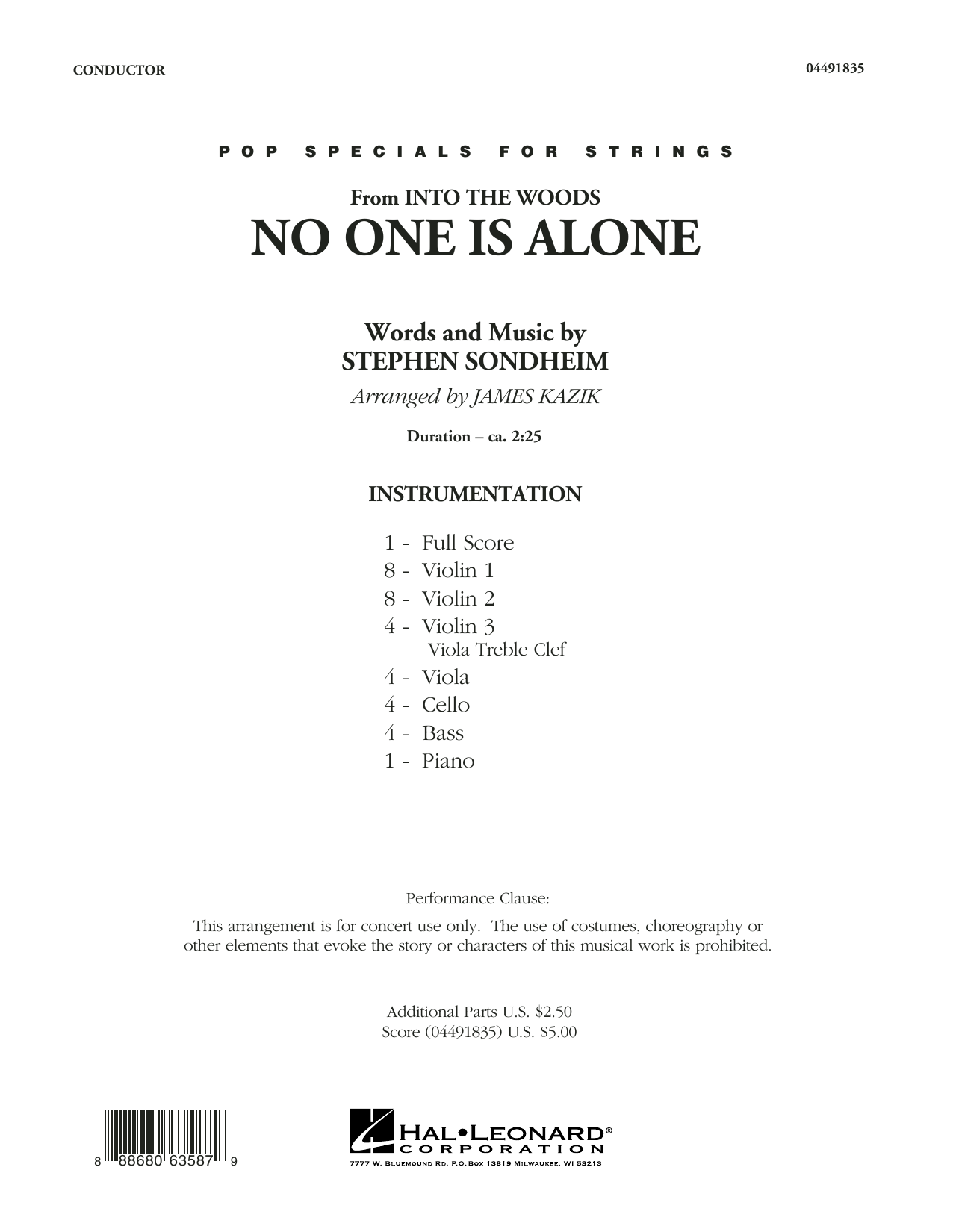 No One Is Alone (from Into The Woods) - Conductor Score (Full Score)
