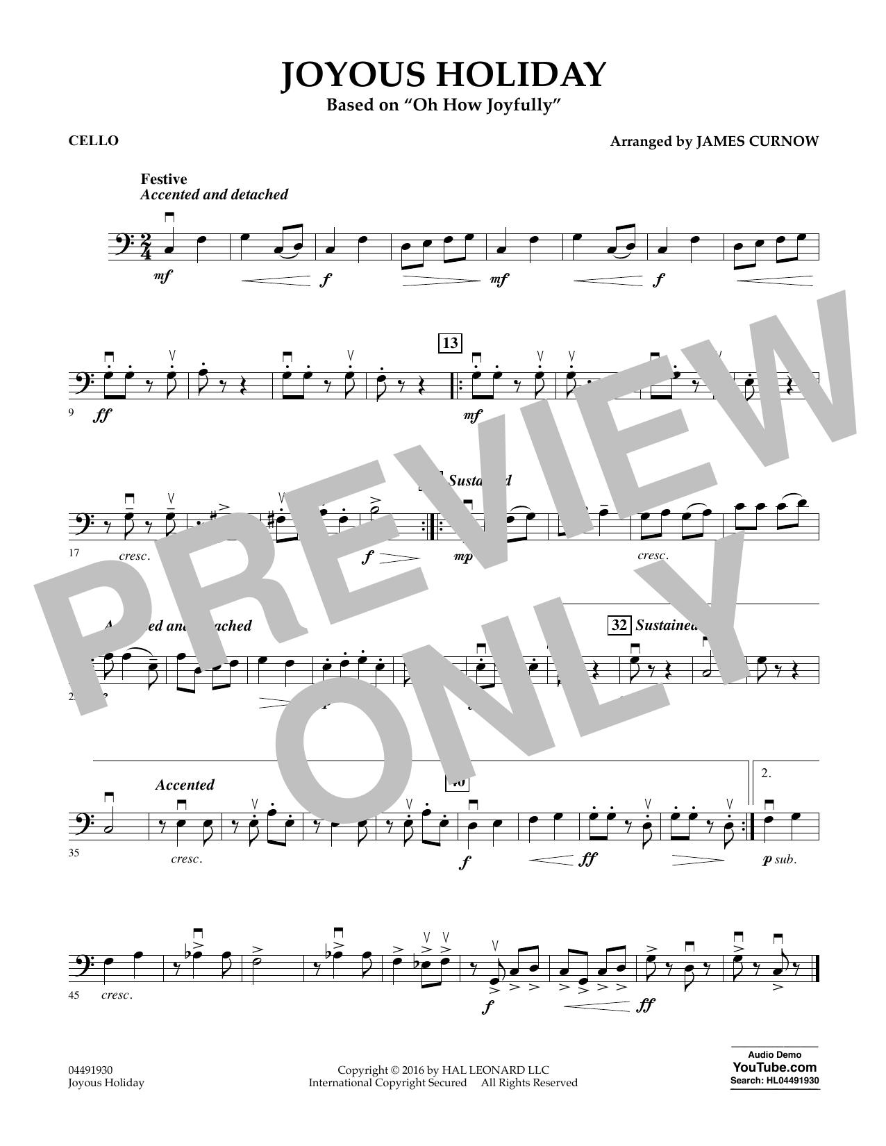Joyous Holiday (based on Oh How Joyfully) - Cello