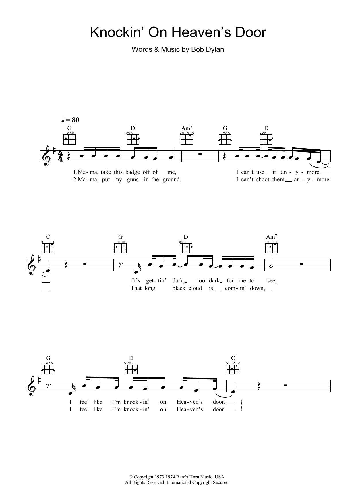 Bob Dylan Knockin On Heavens Door Sheet Music At Stantons