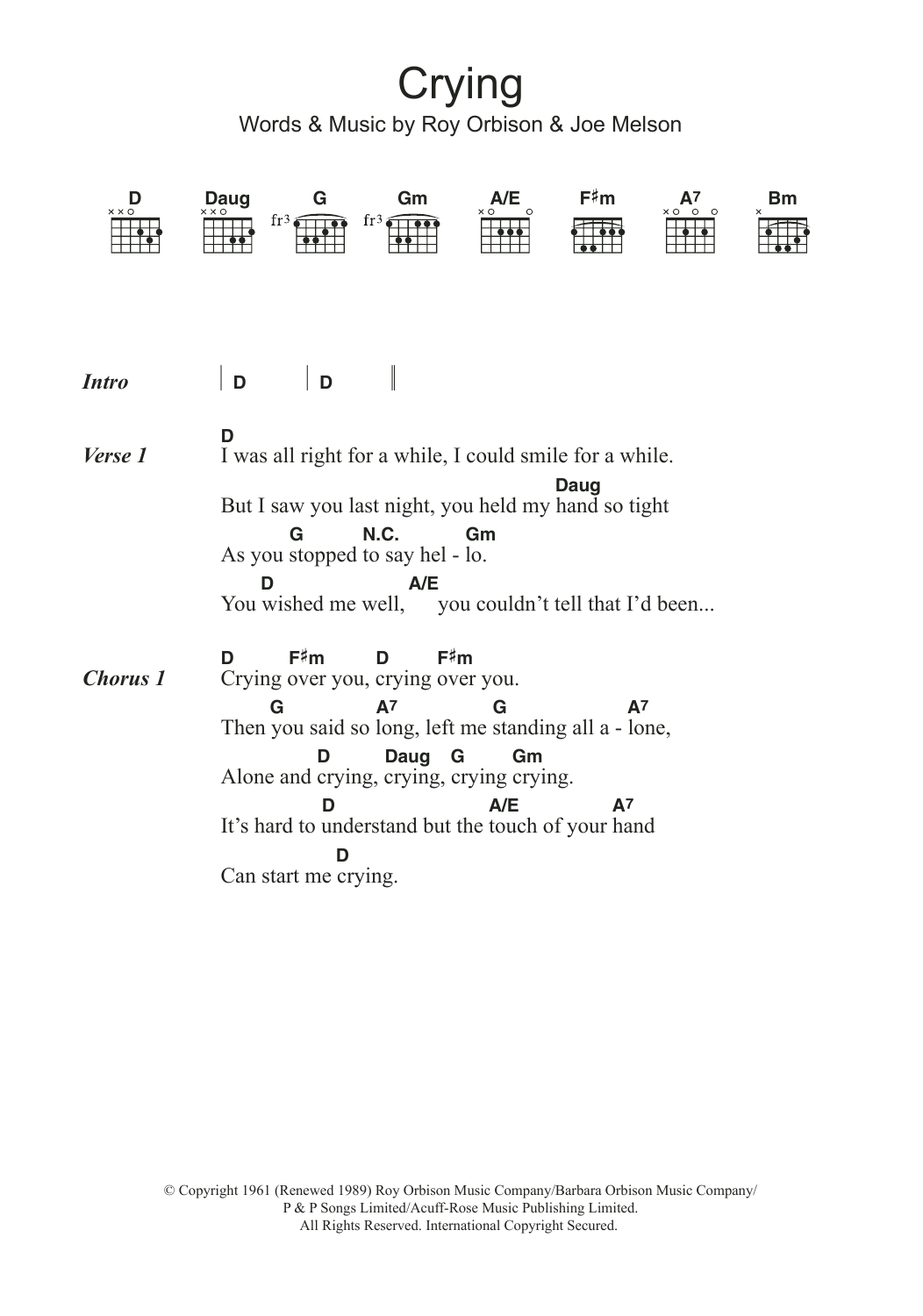 Sheet Music Digital Files To Print Licensed Roy Orbison Digital