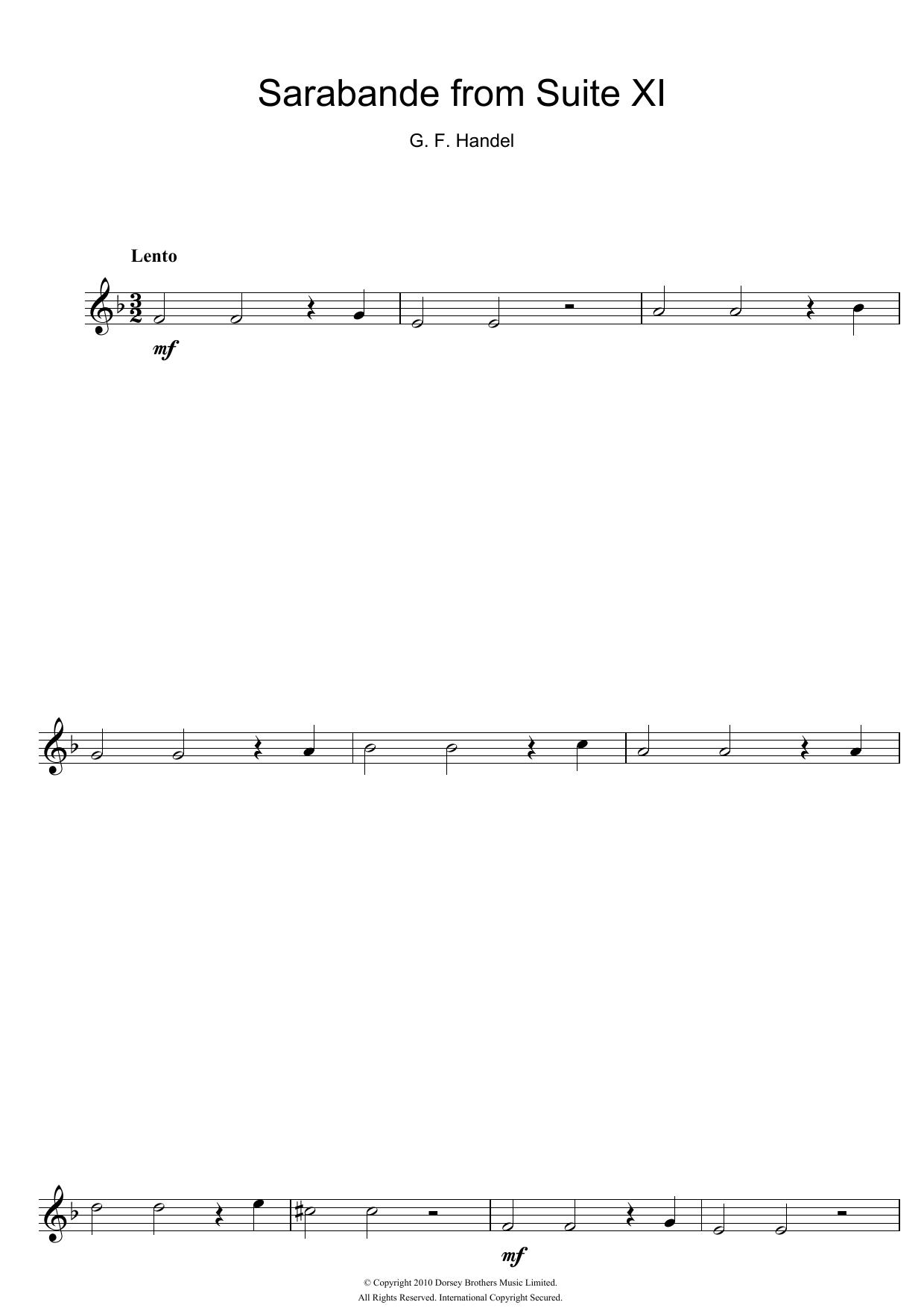 George Frideric Handel - Sarabande (from Suite XI)