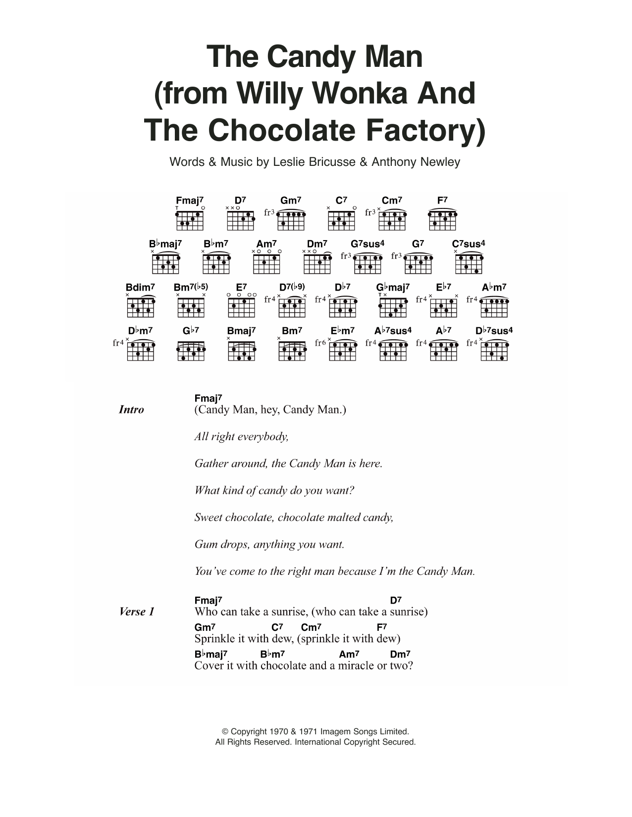 Sheet music digital files to print licensed guitar chordslyrics the candy man from willy wonka and the chocolate factory hexwebz Image collections